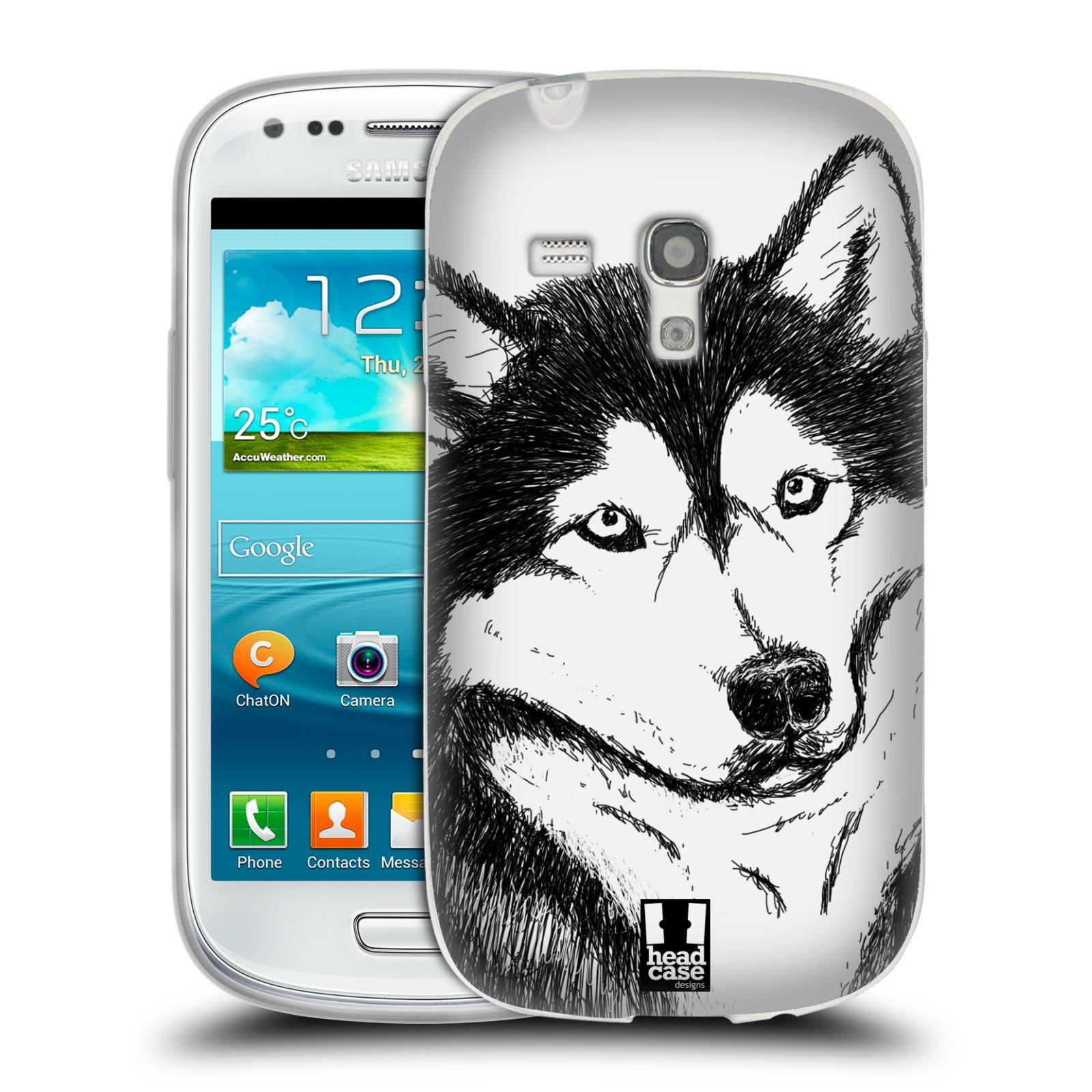 HEAD CASE silikonový obal na mobil Samsung Galaxy S3 MINI i8190 vzor Kreslená zvířátka černá a bílá pes husky