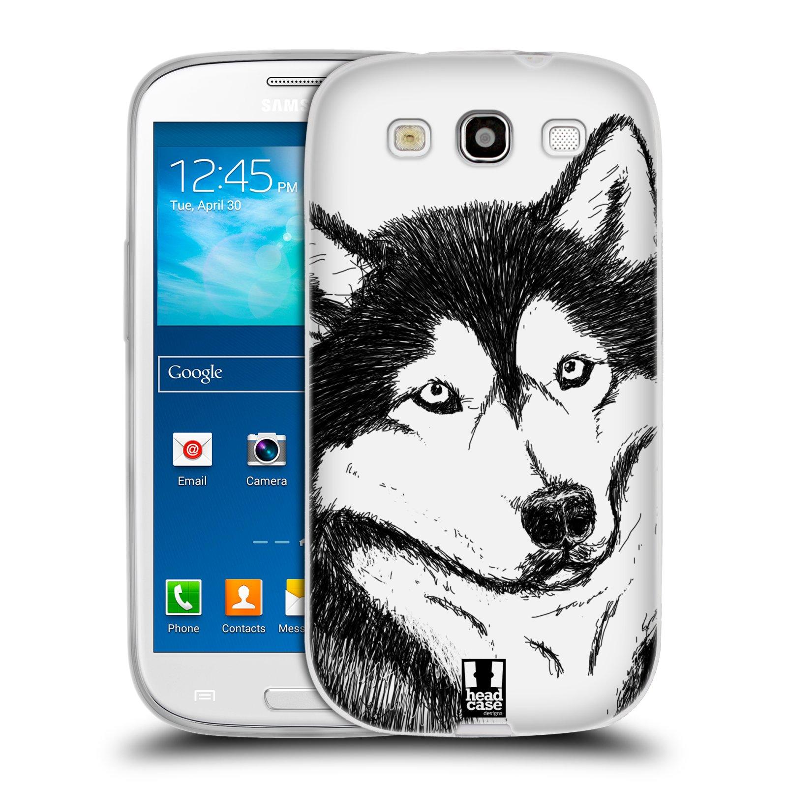 HEAD CASE silikonový obal na mobil Samsung Galaxy S3 i9300 vzor Kreslená zvířátka černá a bílá pes husky