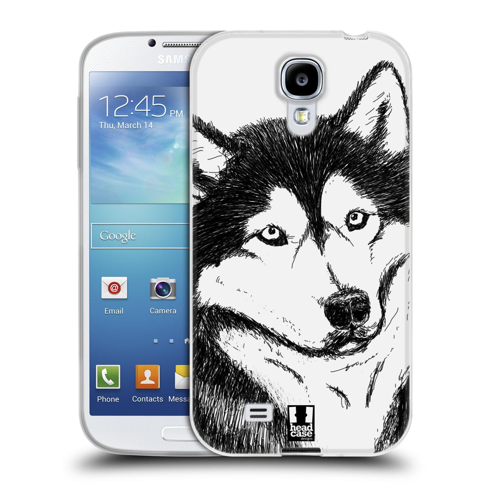 HEAD CASE silikonový obal na mobil Samsung Galaxy S4 i9500 vzor Kreslená zvířátka černá a bílá pes husky