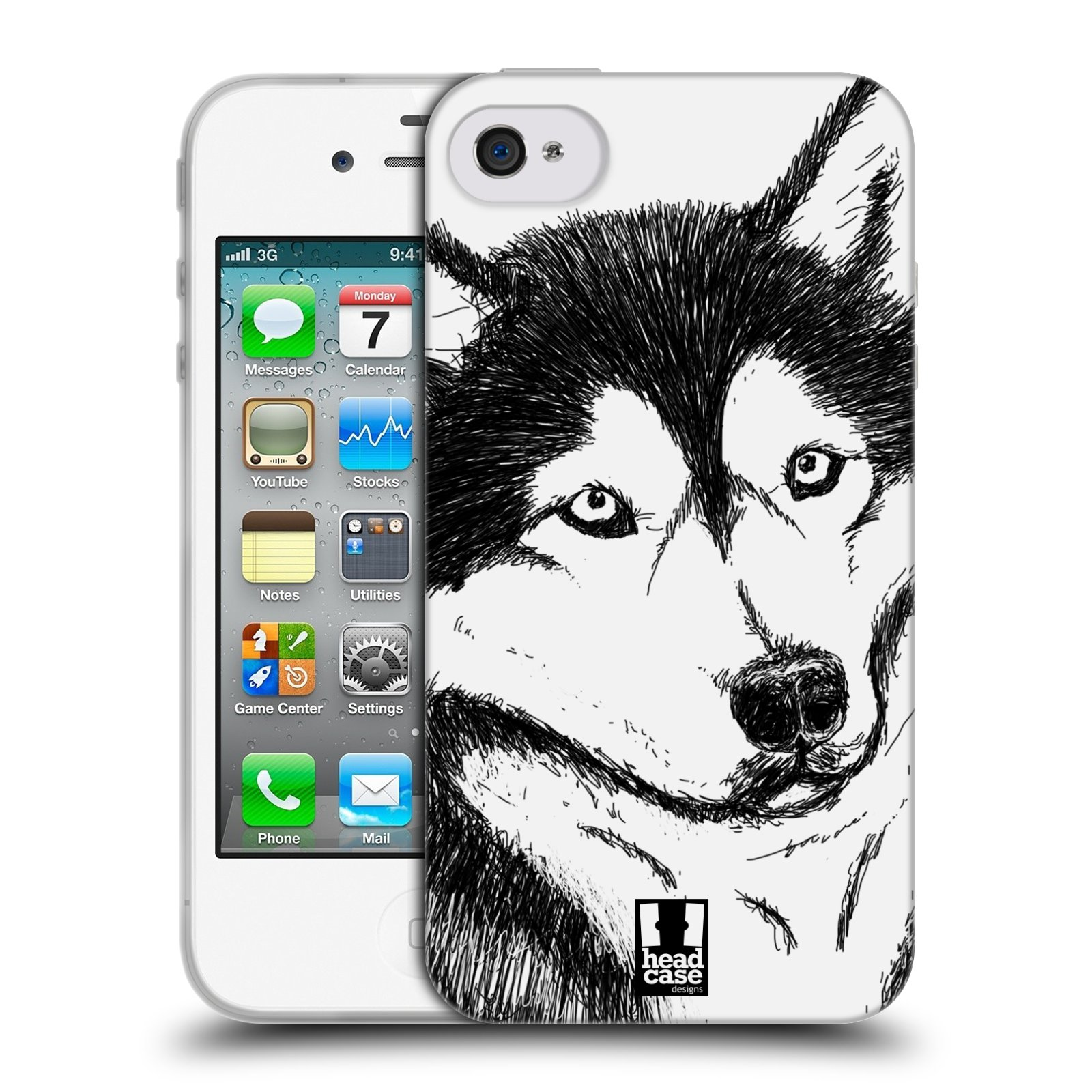 HEAD CASE silikonový obal na mobil Apple Iphone 4/4S vzor Kreslená zvířátka černá a bílá pes husky