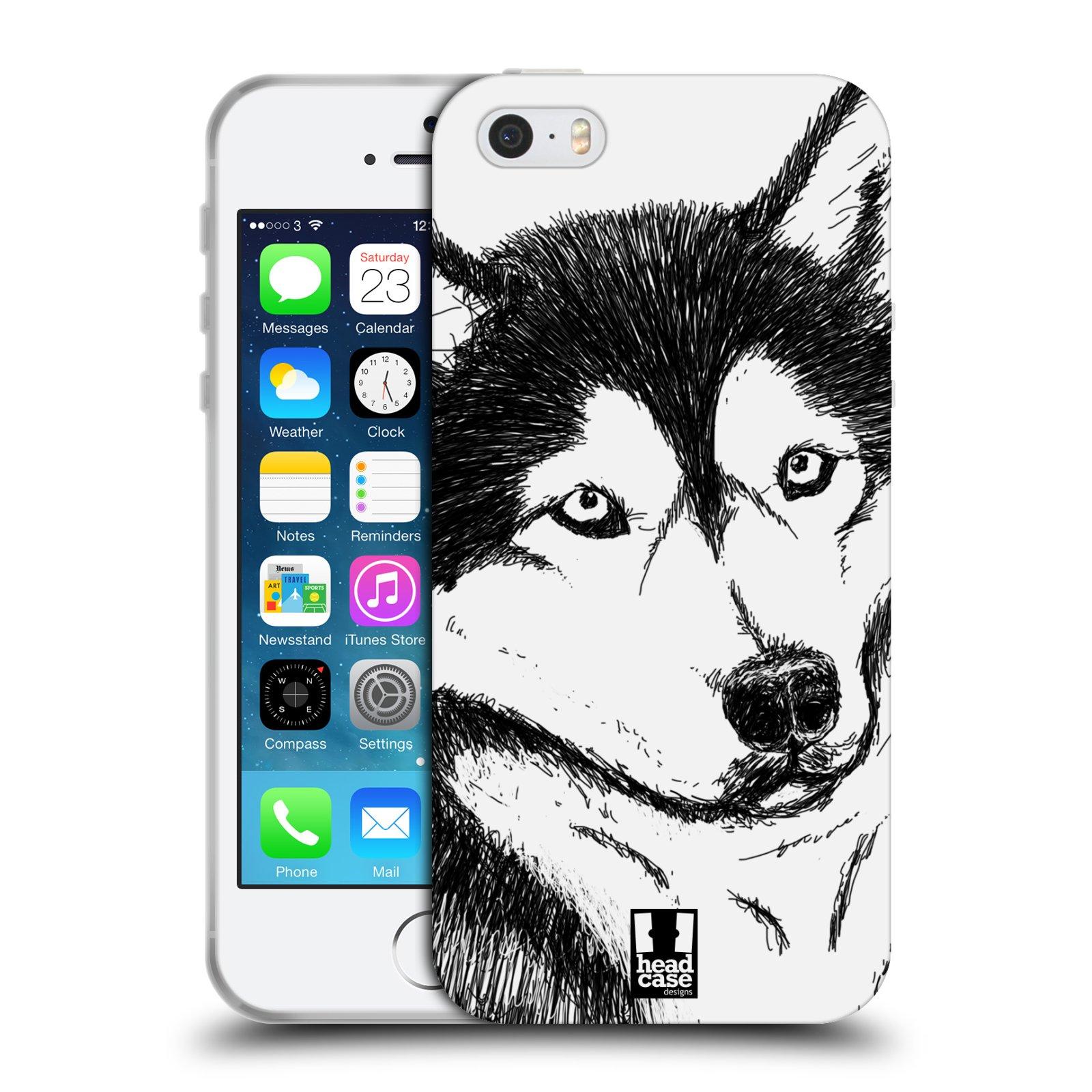 HEAD CASE silikonový obal na mobil Apple Iphone 5/5S vzor Kreslená zvířátka černá a bílá pes husky