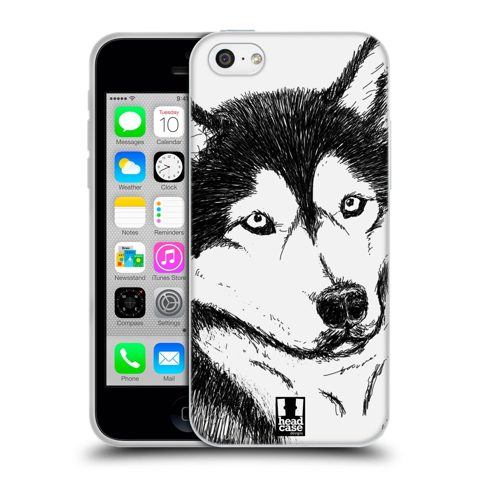 HEAD CASE silikonový obal na mobil Apple Iphone 5C vzor Kreslená zvířátka černá a bílá pes husky