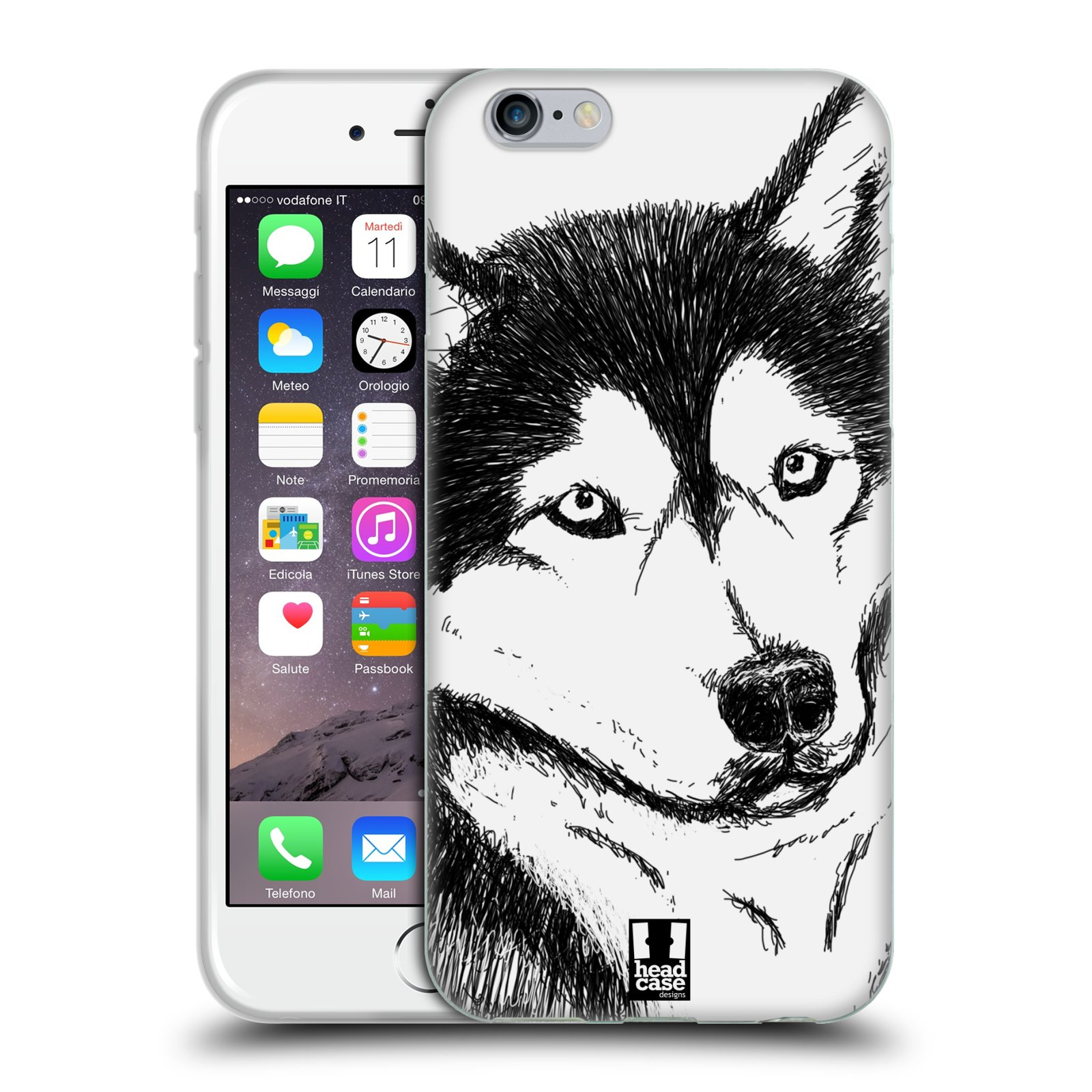 HEAD CASE silikonový obal na mobil Apple Iphone 6/6S vzor Kreslená zvířátka černá a bílá pes husky