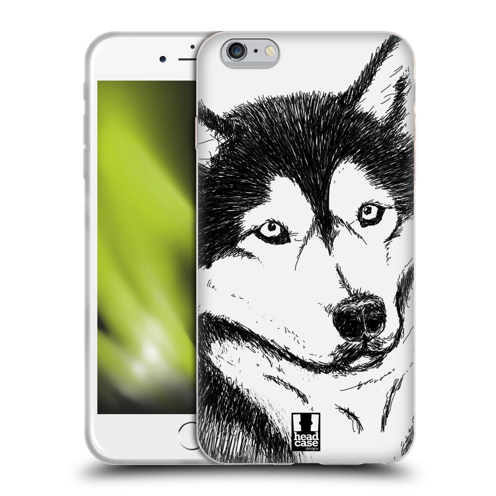 HEAD CASE silikonový obal na mobil Apple Iphone 6 PLUS/ 6S PLUS vzor Kreslená zvířátka černá a bílá pes husky
