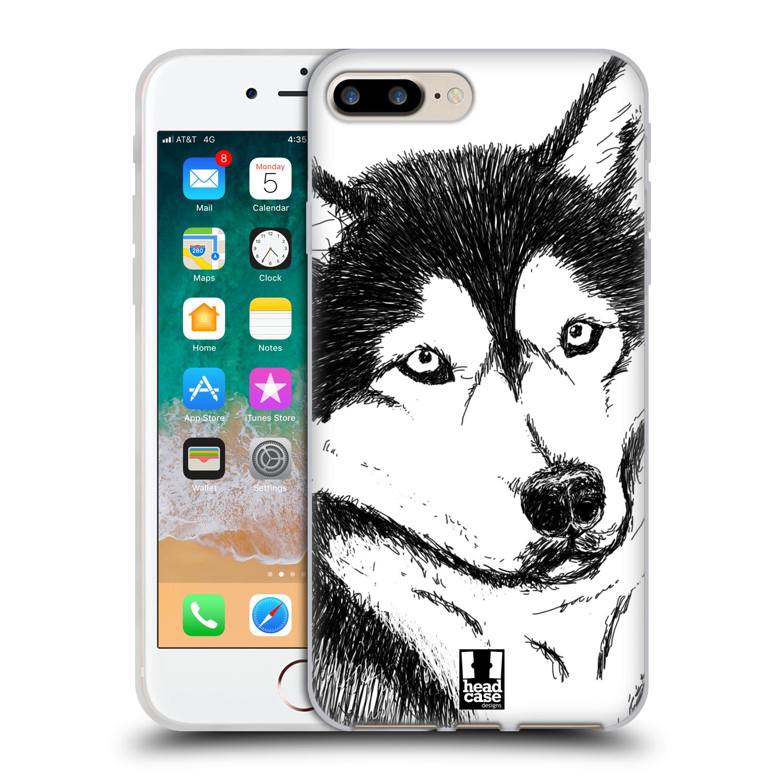 HEAD CASE silikonový obal na mobil Apple Iphone 7 PLUS vzor Kreslená zvířátka černá a bílá pes husky