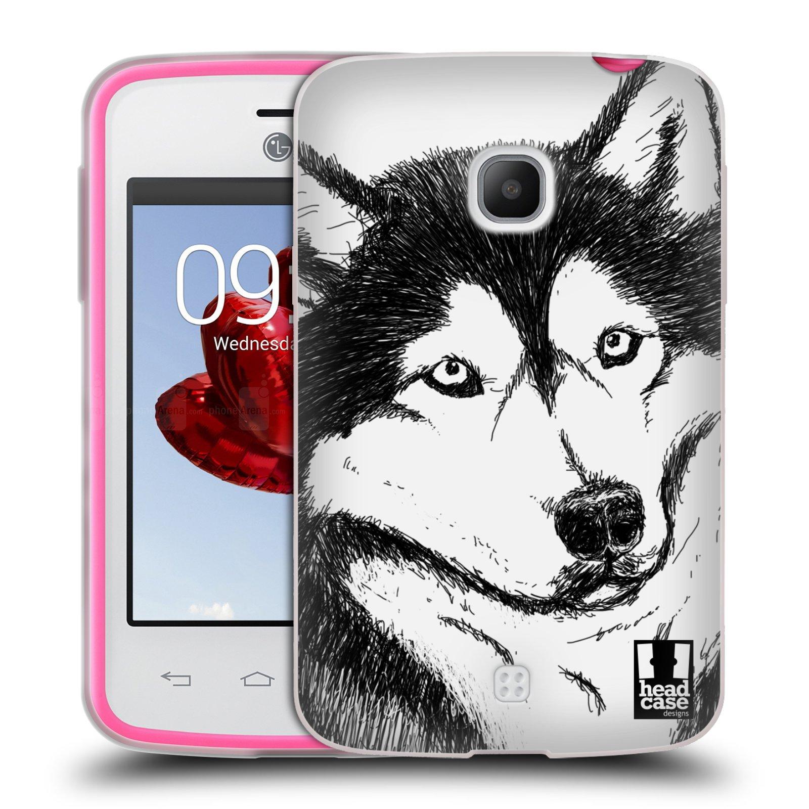 HEAD CASE silikonový obal na mobil LG L30 vzor Kreslená zvířátka černá a bílá pes husky