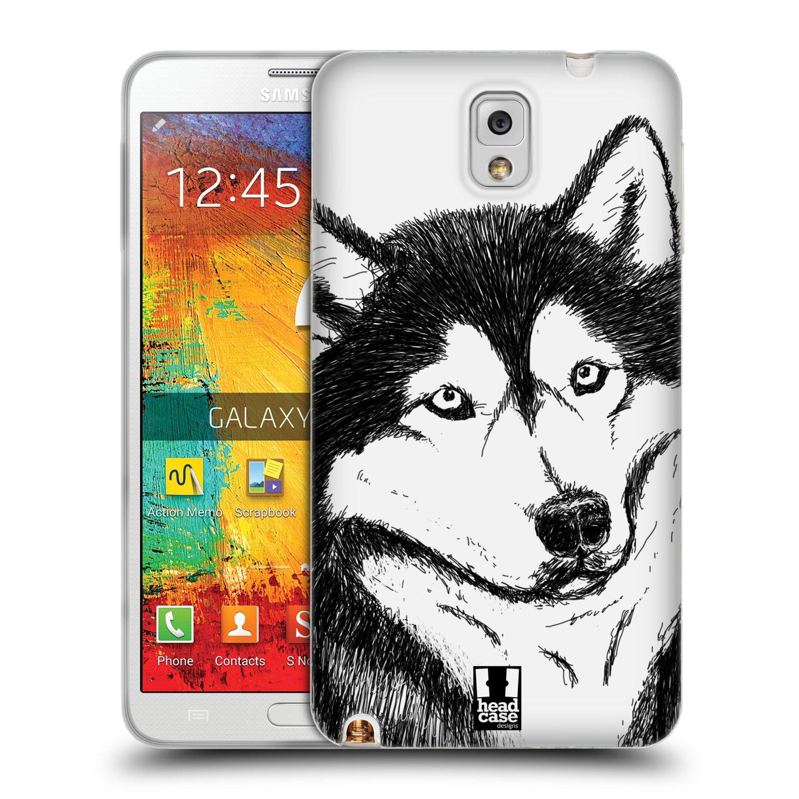 HEAD CASE silikonový obal na mobil Samsung Galaxy Note 3 (N9005) vzor Kreslená zvířátka černá a bílá pes husky