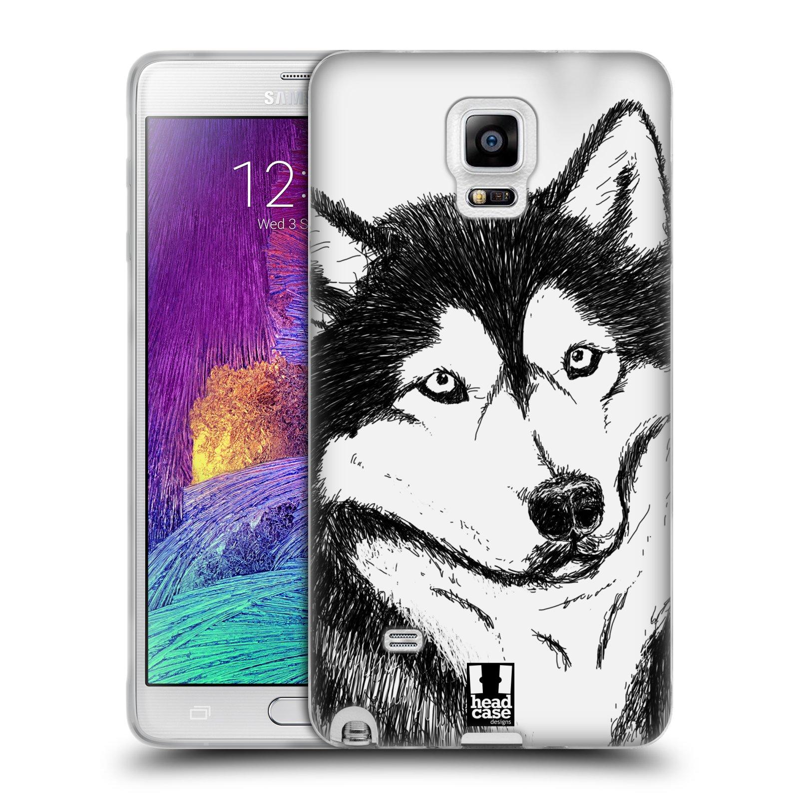 HEAD CASE silikonový obal na mobil Samsung Galaxy Note 4 (N910) vzor Kreslená zvířátka černá a bílá pes husky