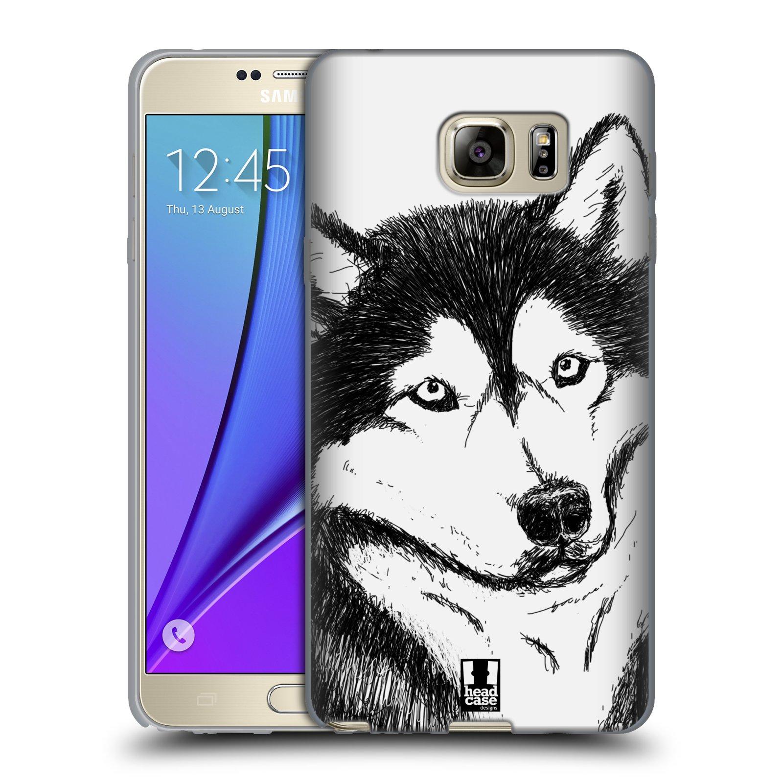 HEAD CASE silikonový obal na mobil Samsung Galaxy Note 5 (N920) vzor Kreslená zvířátka černá a bílá pes husky