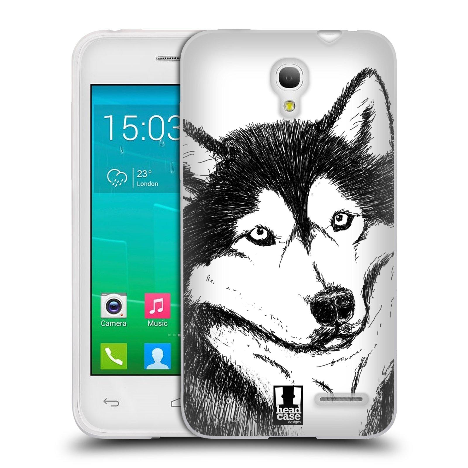 HEAD CASE silikonový obal na mobil Alcatel POP S3 OT-5050Y vzor Kreslená zvířátka černá a bílá pes husky