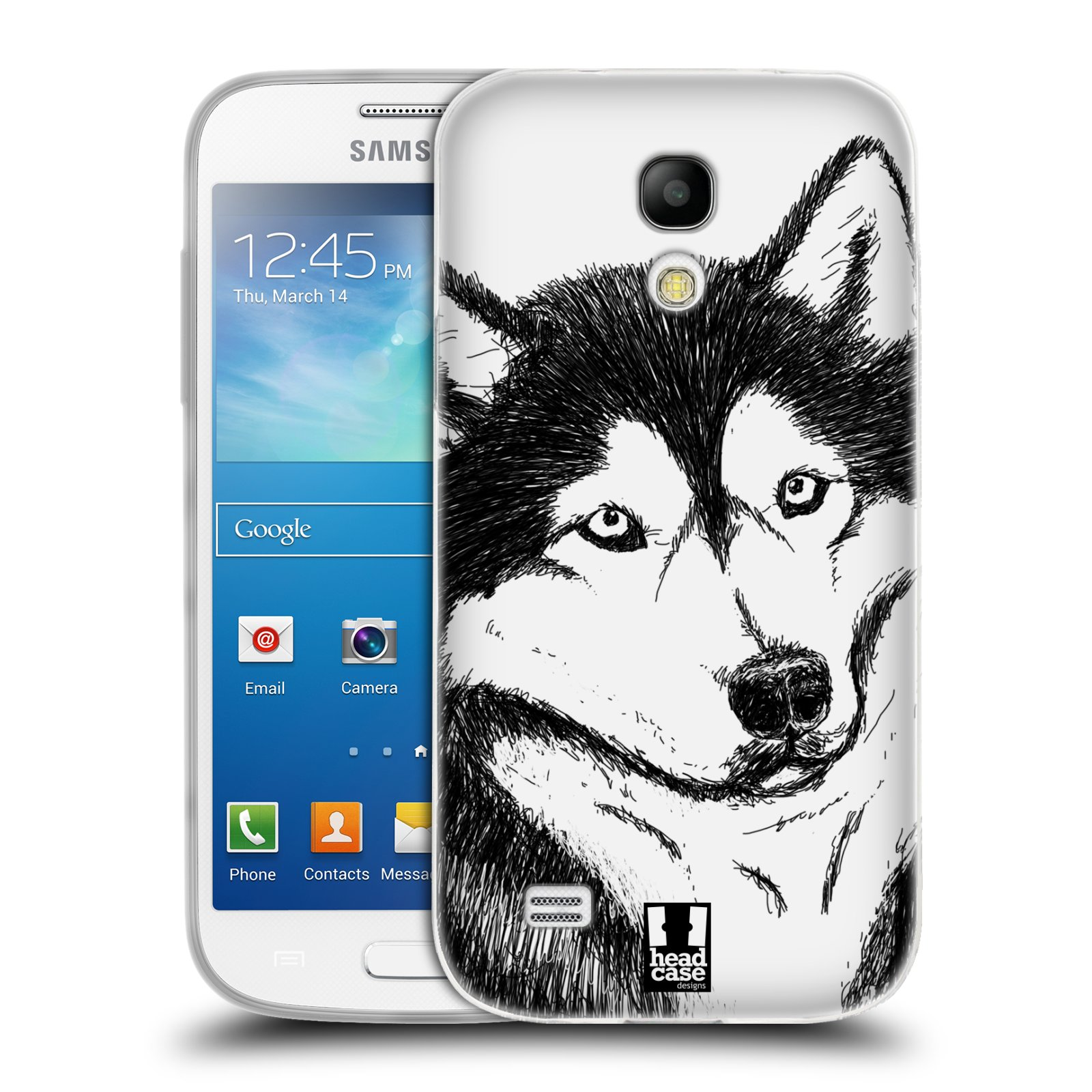 HEAD CASE silikonový obal na mobil Samsung Galaxy S4 MINI vzor Kreslená zvířátka černá a bílá pes husky