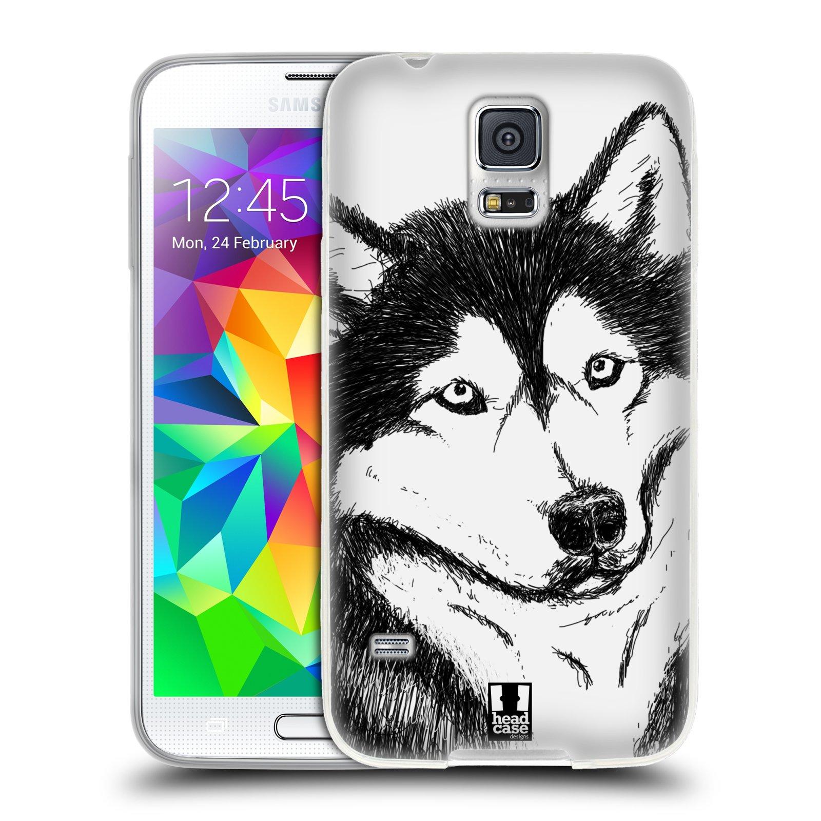 HEAD CASE silikonový obal na mobil Samsung Galaxy S5/S5 NEO vzor Kreslená zvířátka černá a bílá pes husky