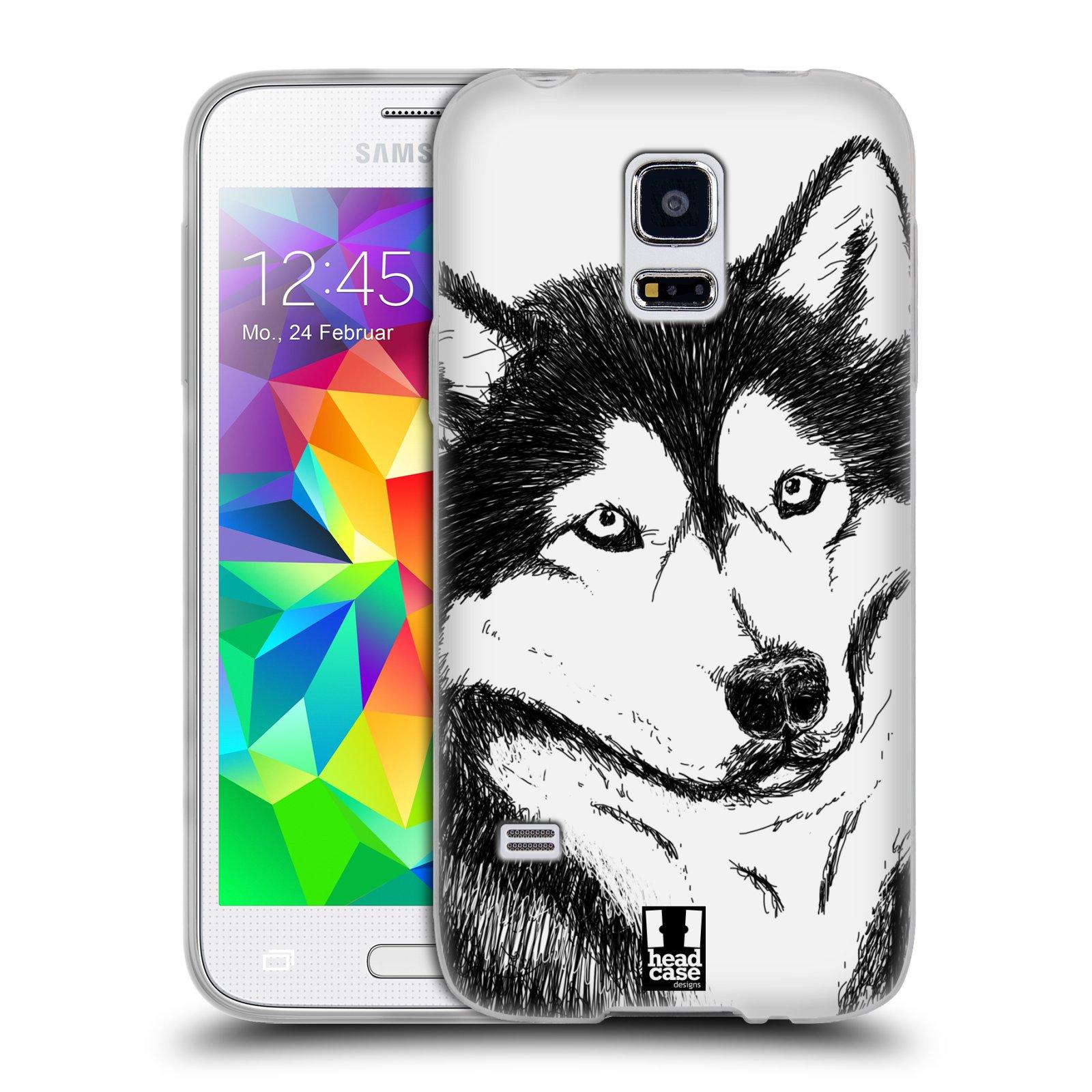 HEAD CASE silikonový obal na mobil Samsung Galaxy S5 MINI vzor Kreslená zvířátka černá a bílá pes husky