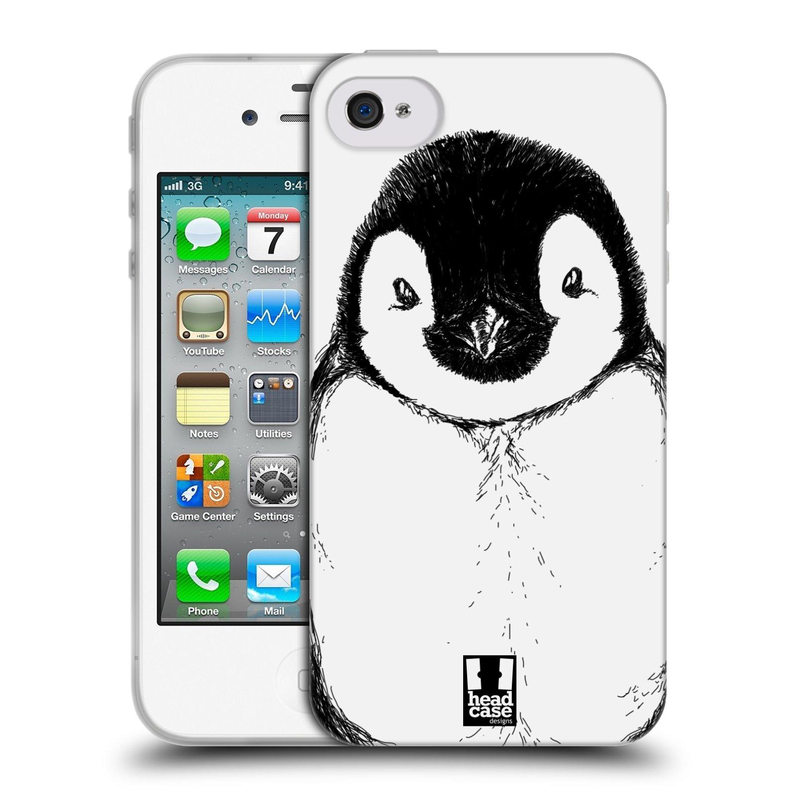 HEAD CASE silikonový obal na mobil Apple Iphone 4 4S vzor Kreslená zvířátka  černá a bílá tučňák b5504a23d64