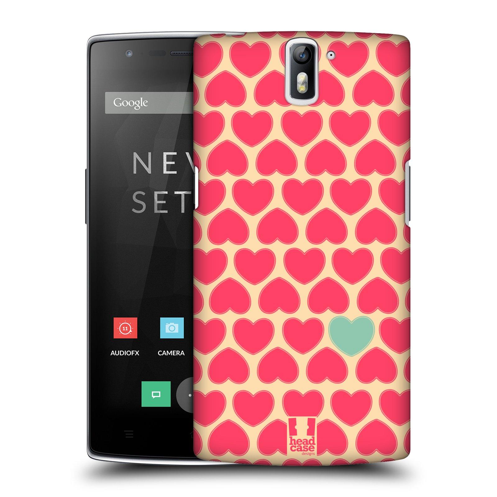 HEAD CASE pevný plastový obal na mobil OnePlus ONE vzor Srdíčka RŮŽOVÁ A MODRÉ SRDCE