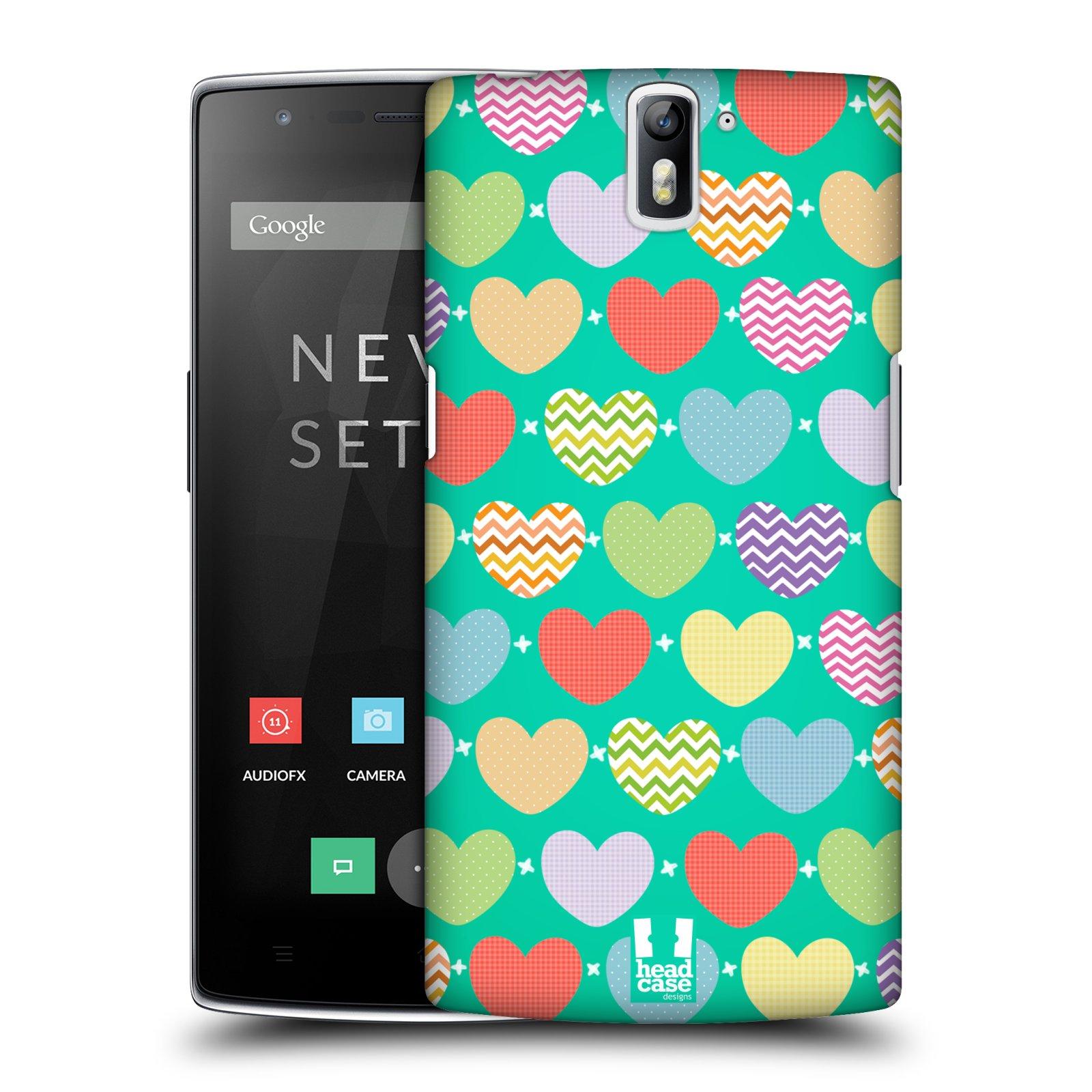 HEAD CASE pevný plastový obal na mobil OnePlus ONE vzor Srdíčka ZELENÁ PROUŽKY