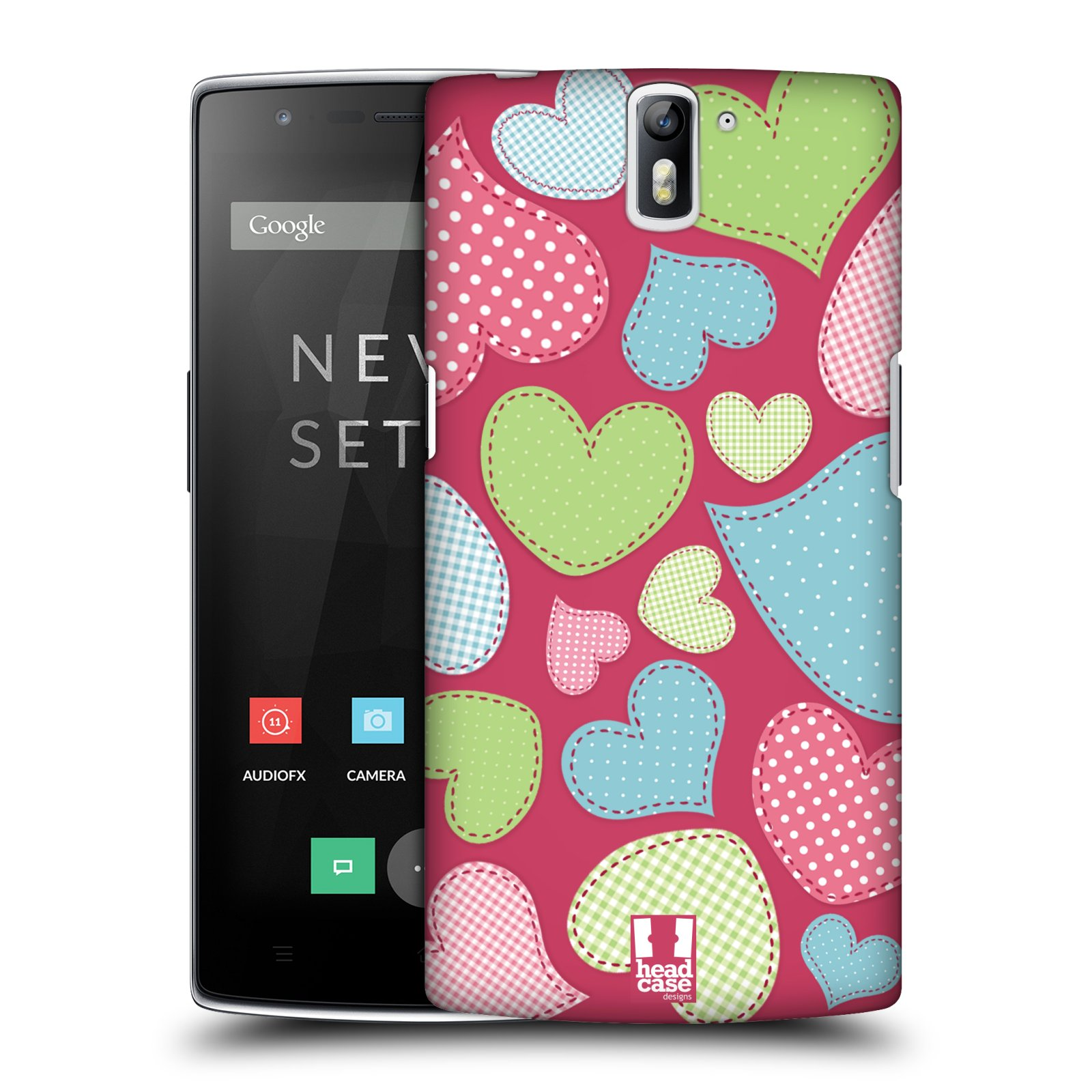 HEAD CASE pevný plastový obal na mobil OnePlus ONE vzor Srdíčka RŮŽOVÁ IMITACE NÁŠIVKA