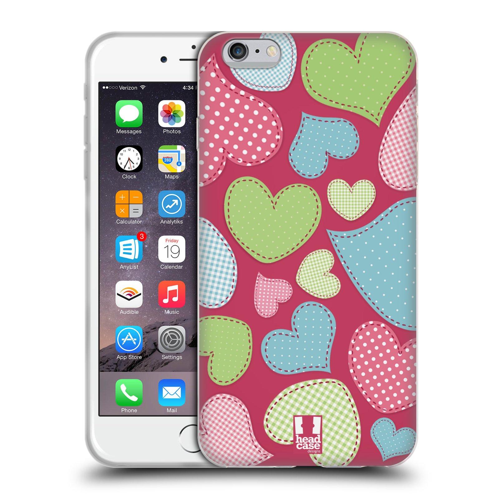 HEAD CASE silikonový obal na mobil Apple Iphone 6 PLUS  6S PLUS vzor Srdíčka  RŮŽOVÁ IMITACE NÁŠIVKA ddd4f0c0e3f