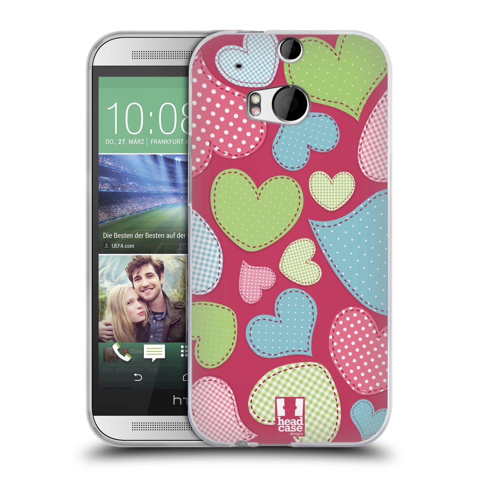HEAD CASE silikonový obal na mobil HTC ONE (M8) vzor Srdíčka RŮŽOVÁ IMITACE NÁŠIVKA