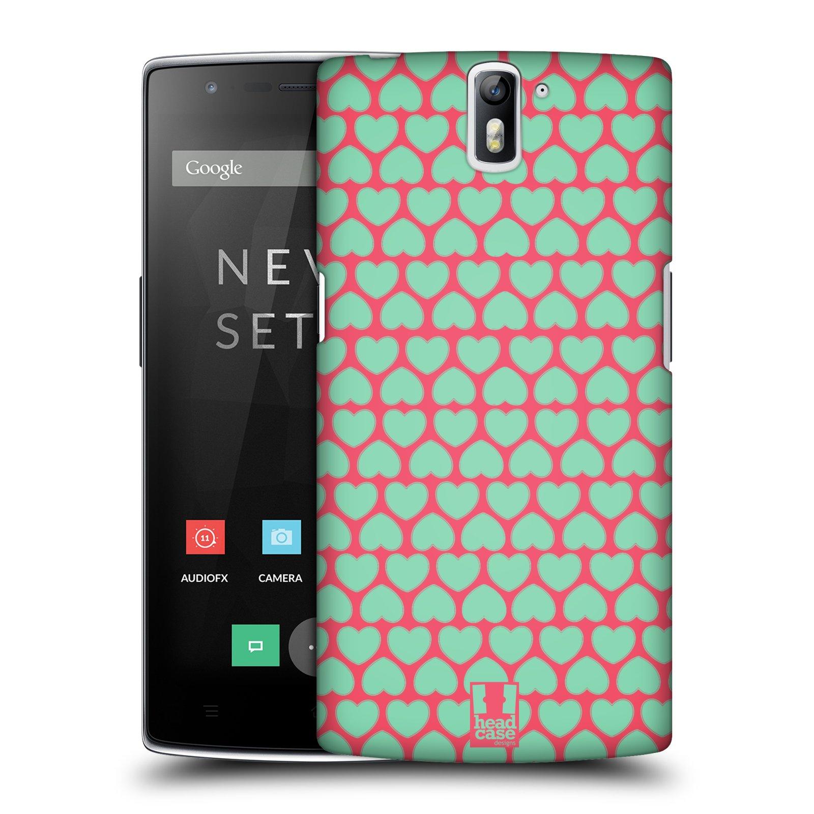 HEAD CASE pevný plastový obal na mobil OnePlus ONE vzor Srdíčka TYRKYSOVÁ A RŮŽOVÁ