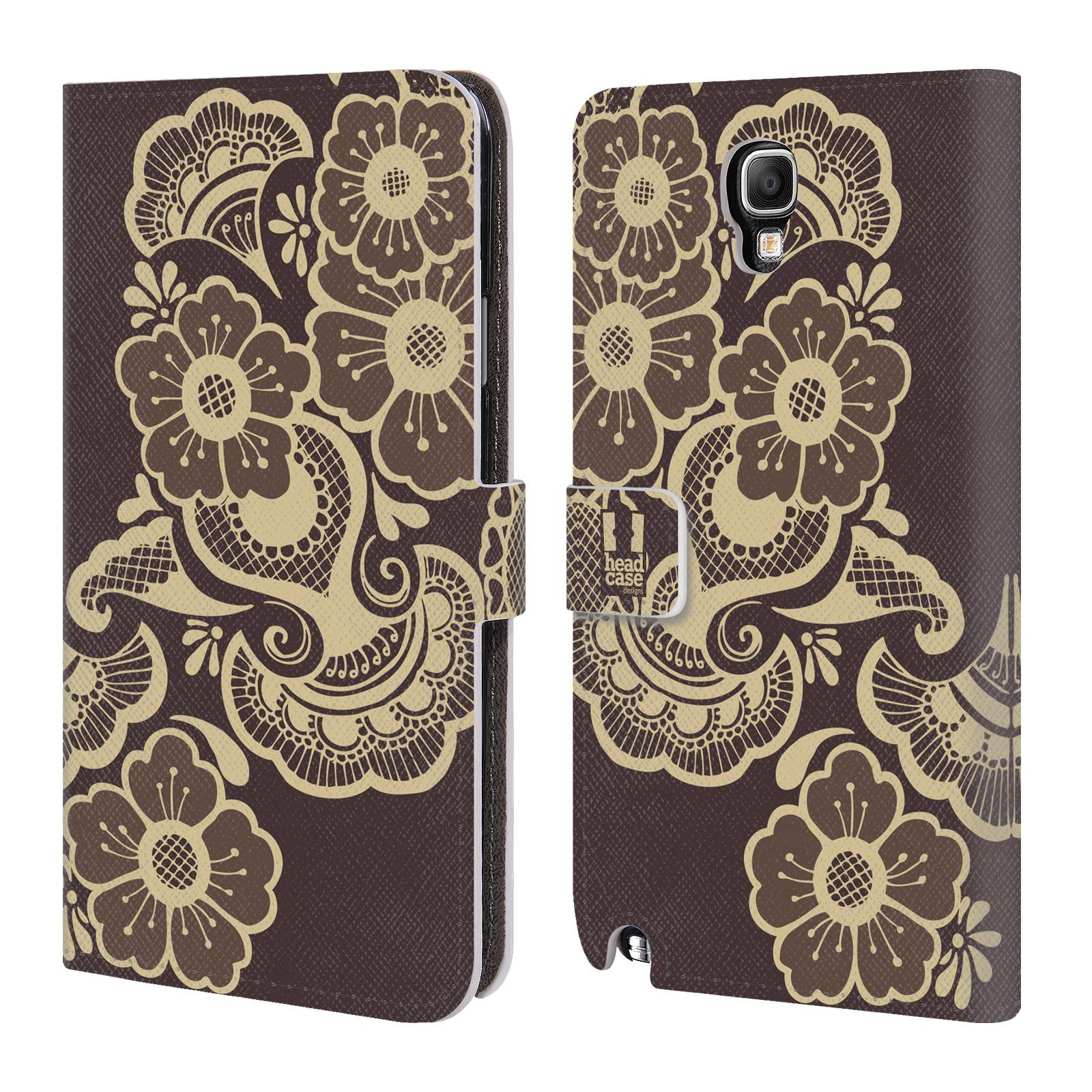 HEAD CASE Flipové pouzdro pro mobil Samsung Galaxy Note 3 NEO (N7505) Hena kresba květy