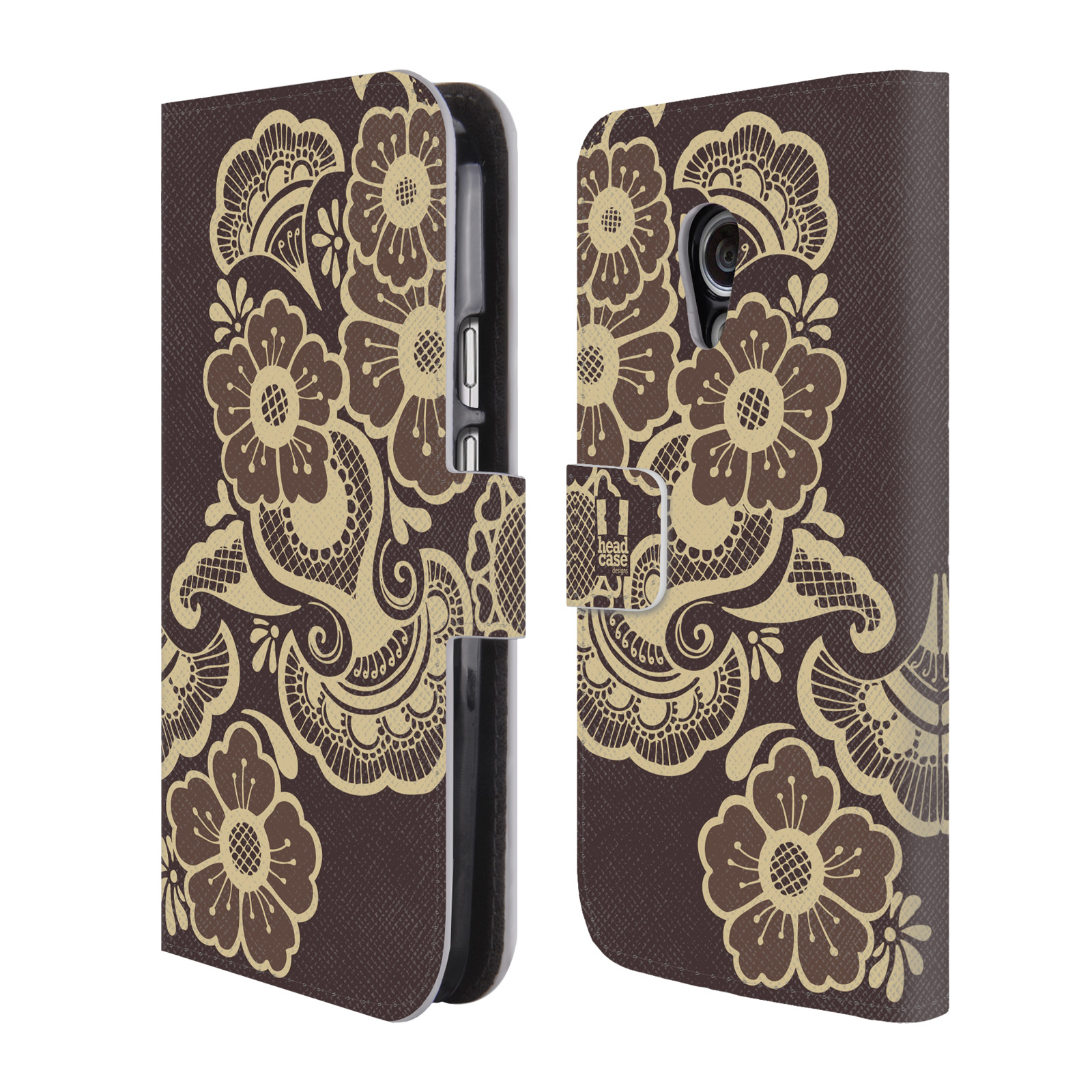 HEAD CASE DESIGNS HENNA LEATHER BOOK WALLET CASE COVER FOR