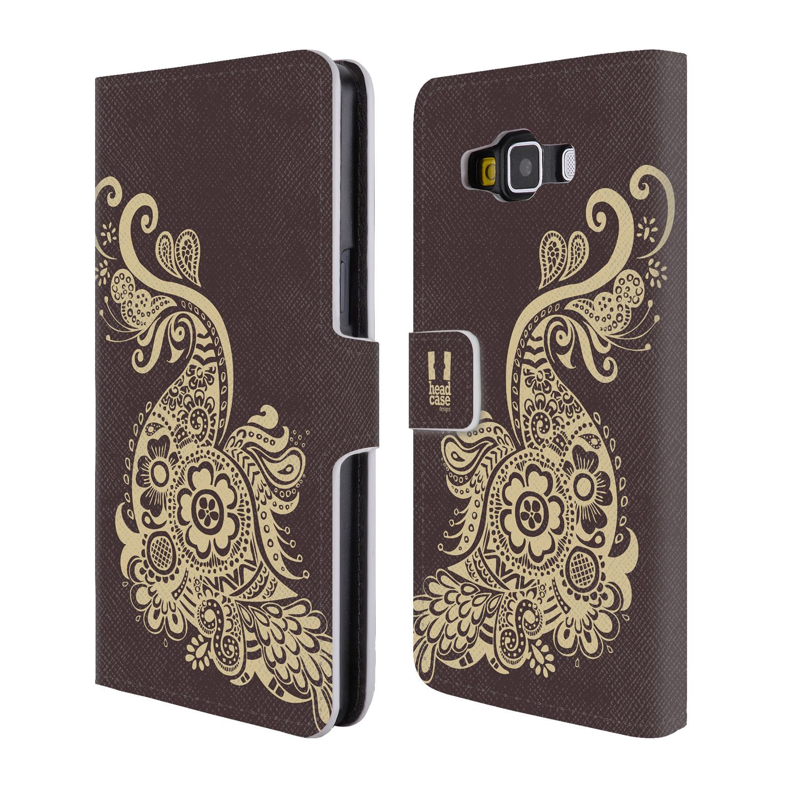 HEAD CASE Flipové pouzdro pro mobil Samsung Galaxy A5 Hena kresba paví pírko
