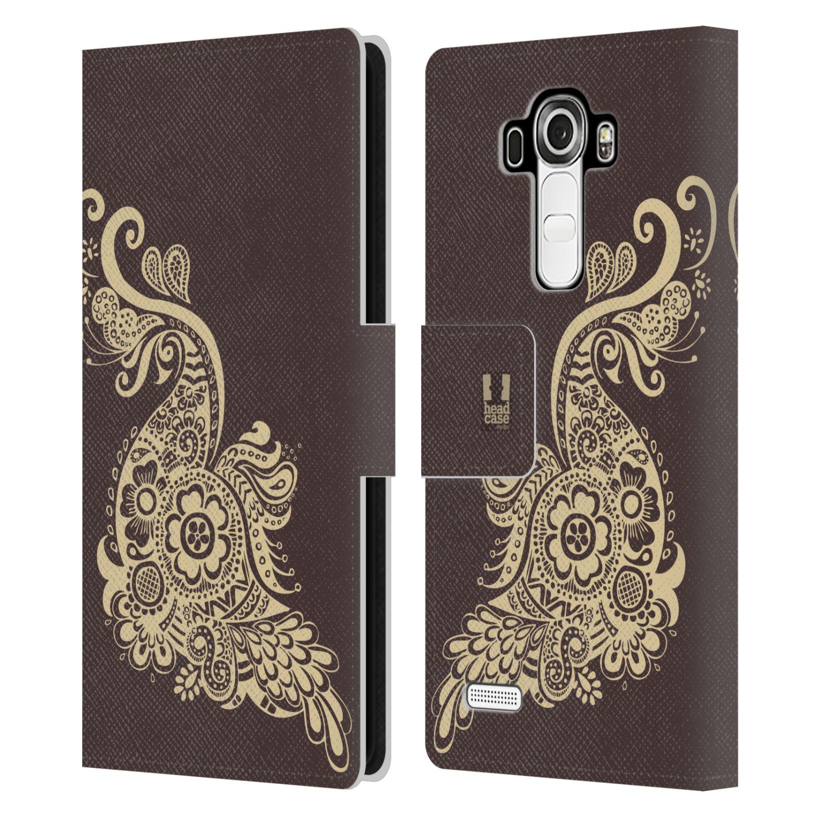 HEAD CASE Flipové pouzdro pro mobil LG G4 (H815) Hena kresba paví pírko