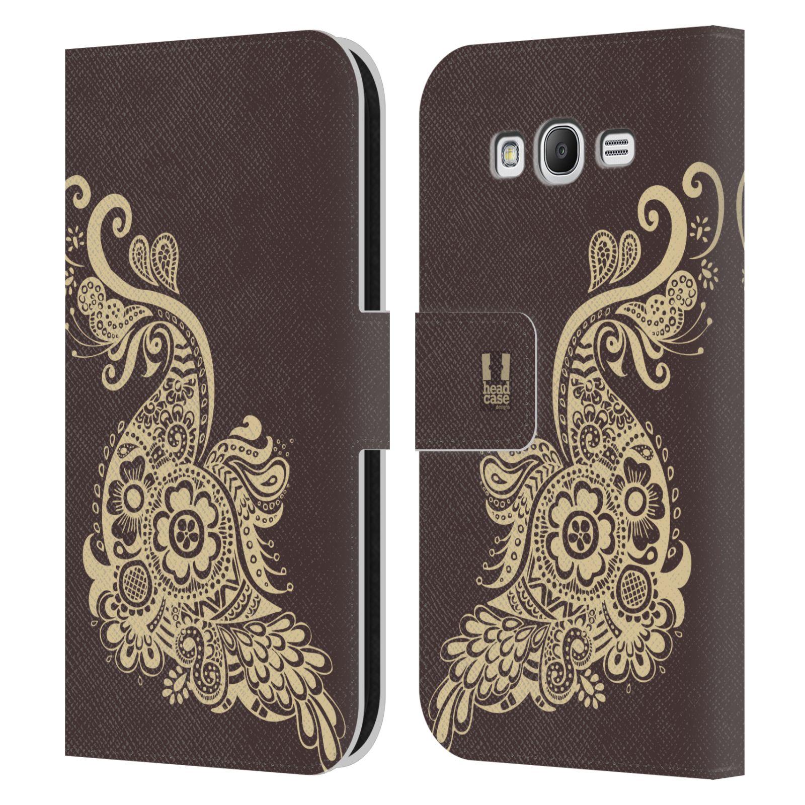 HEAD CASE Flipové pouzdro pro mobil Samsung Galaxy Grand i9080 Hena kresba paví pírko
