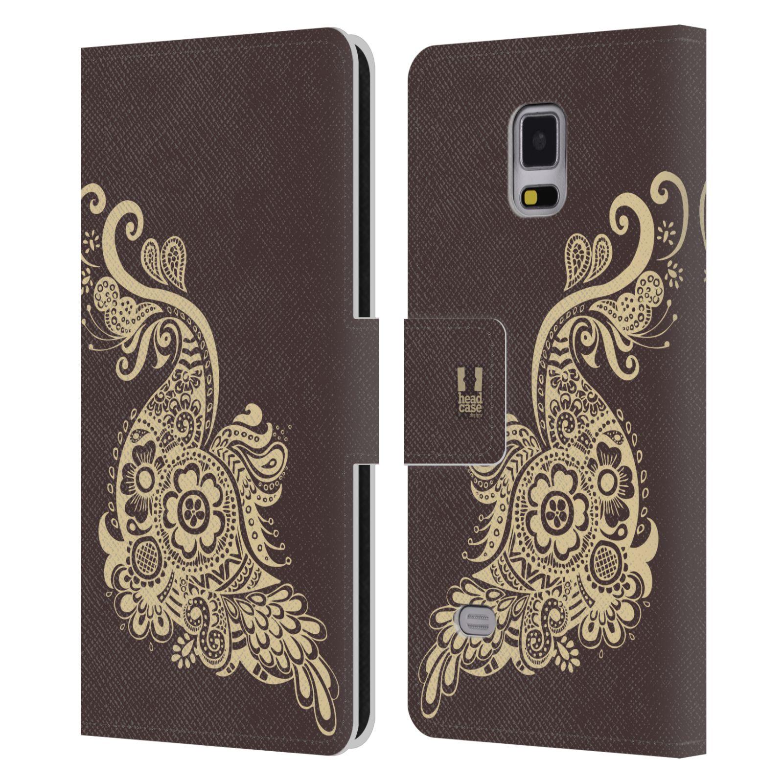 HEAD CASE Flipové pouzdro pro mobil Samsung Galaxy Note 4 Hena kresba paví pírko