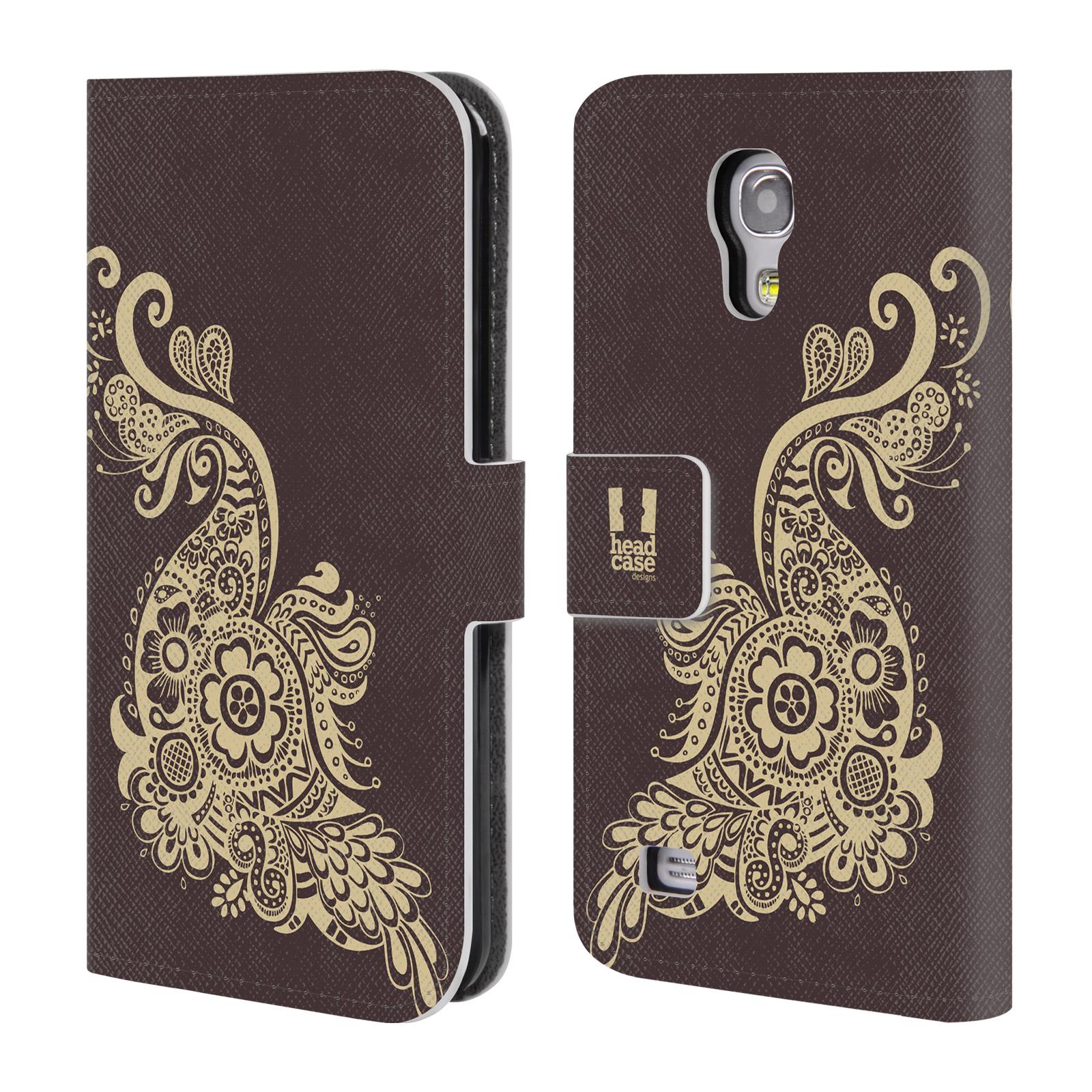 HEAD CASE Flipové pouzdro pro mobil Samsung Galaxy S4 MINI / S4 MINI DUOS Hena kresba paví pírko