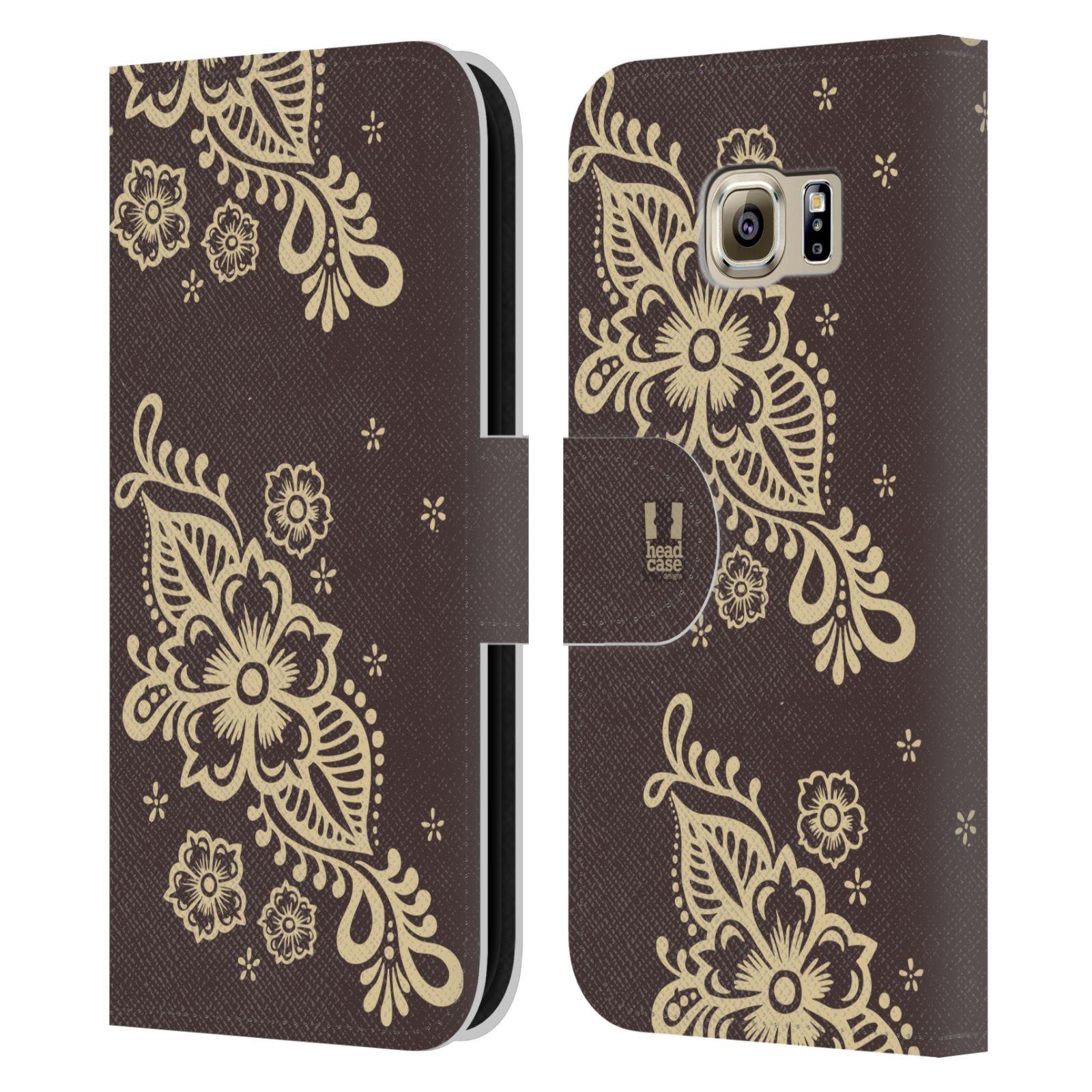 HEAD CASE Flipové pouzdro pro mobil Samsung Galaxy S6 (G9200) Hena kresba víno
