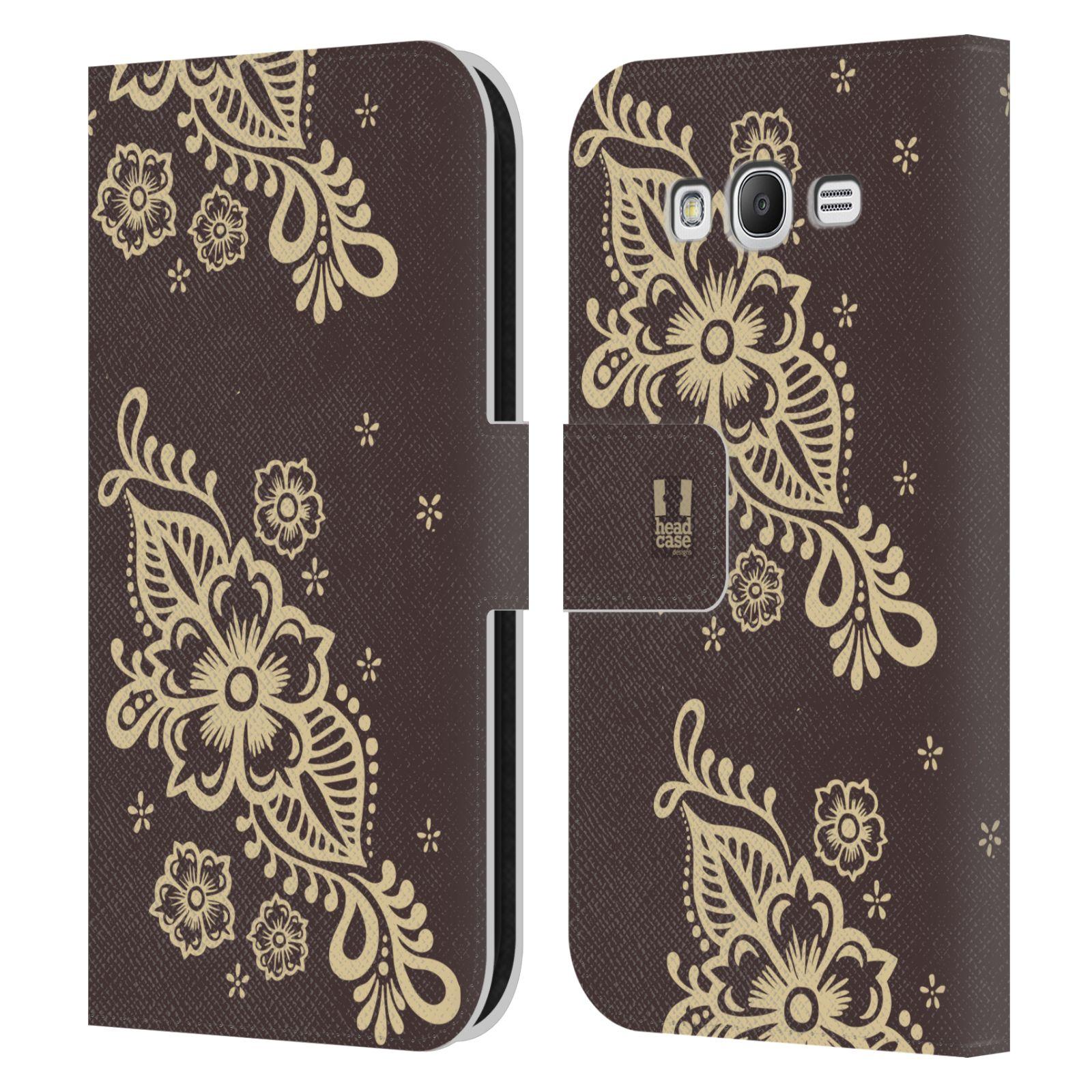 HEAD CASE Flipové pouzdro pro mobil Samsung Galaxy Grand i9080 Hena kresba víno