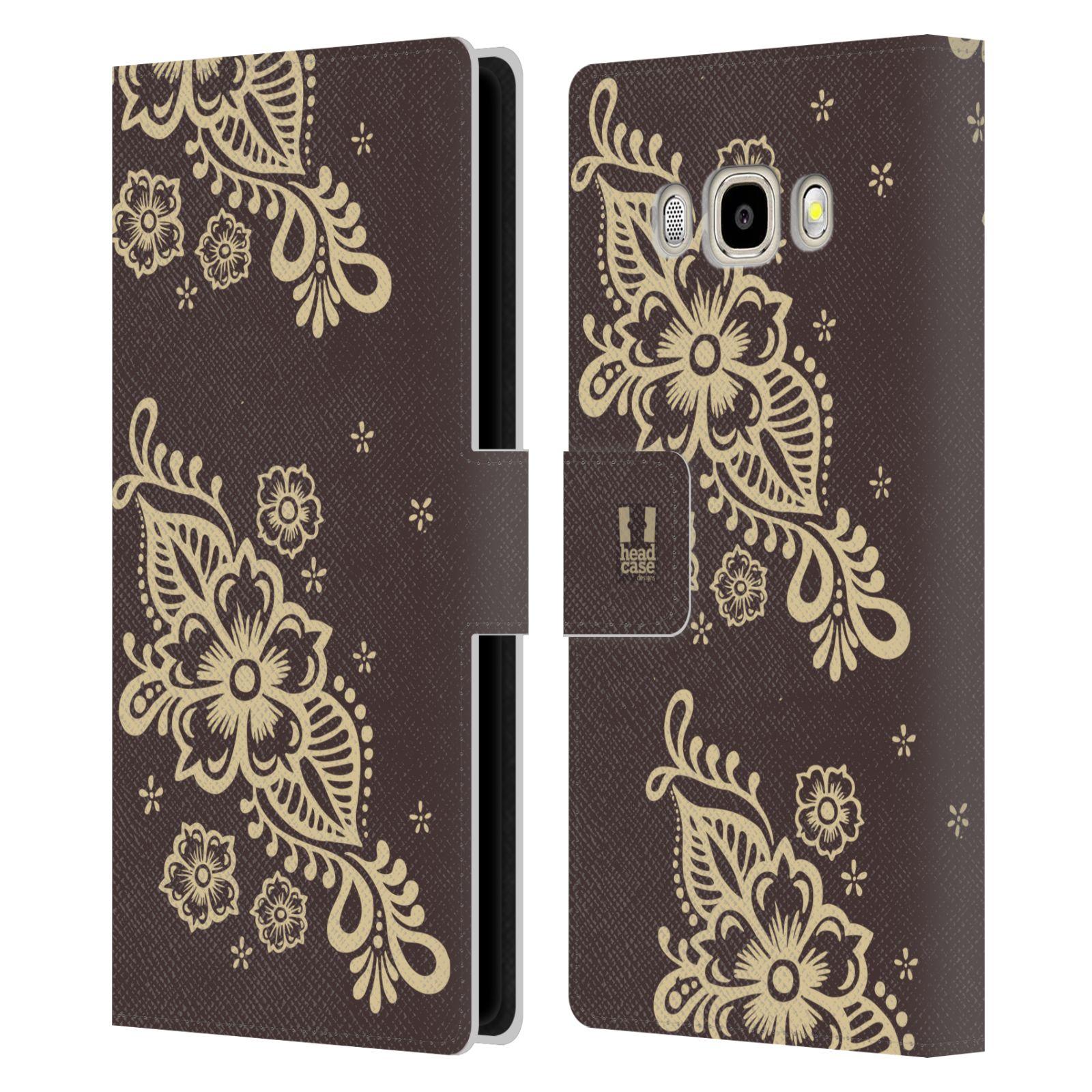 HEAD CASE Flipové pouzdro pro mobil Samsung Galaxy J5 2016 Hena kresba víno