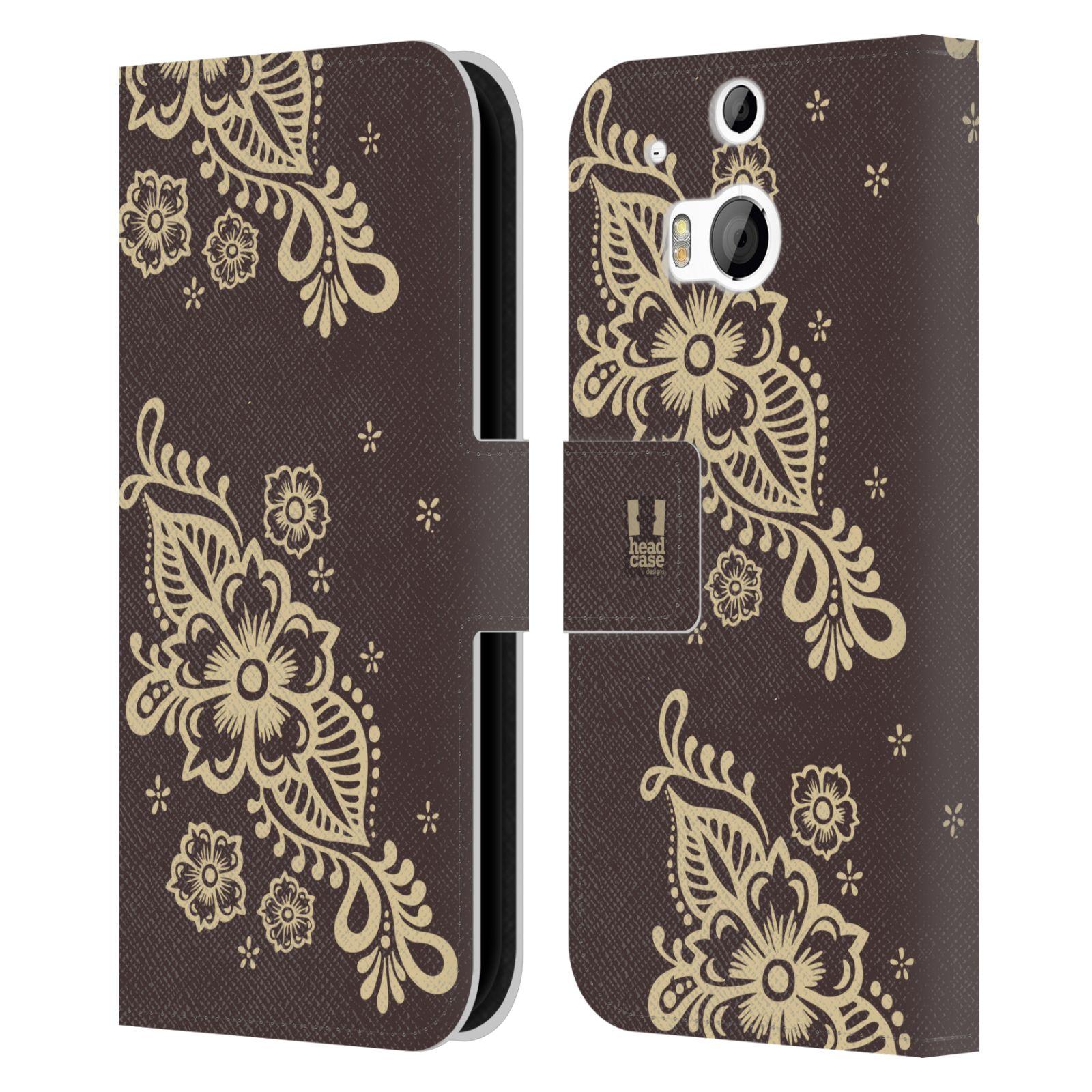 HEAD CASE Flipové pouzdro pro mobil HTC ONE (M8, M8s) Hena kresba víno
