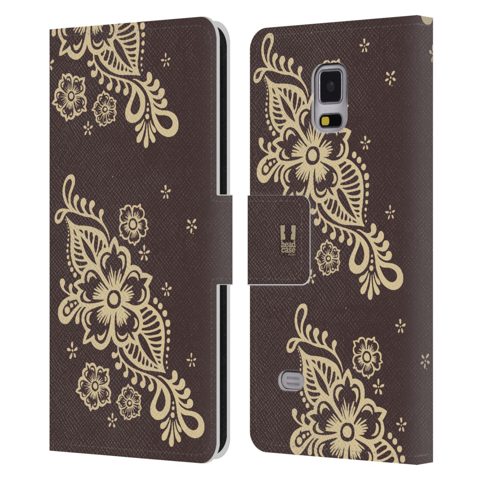 HEAD CASE Flipové pouzdro pro mobil Samsung Galaxy Note 4 Hena kresba víno