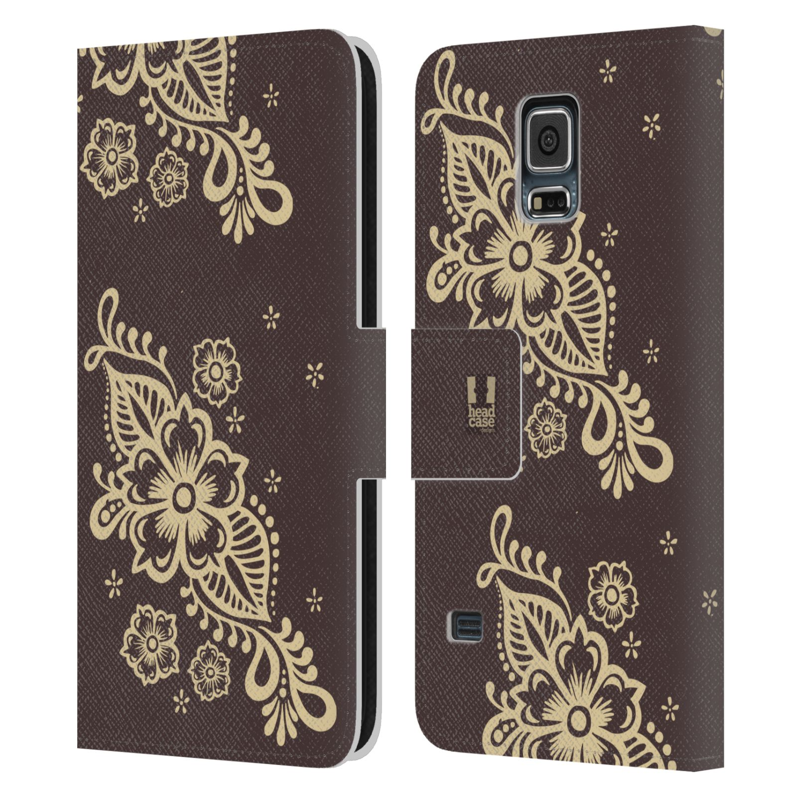 HEAD CASE Flipové pouzdro pro mobil Samsung Galaxy S5 / S5 NEO Hena kresba víno