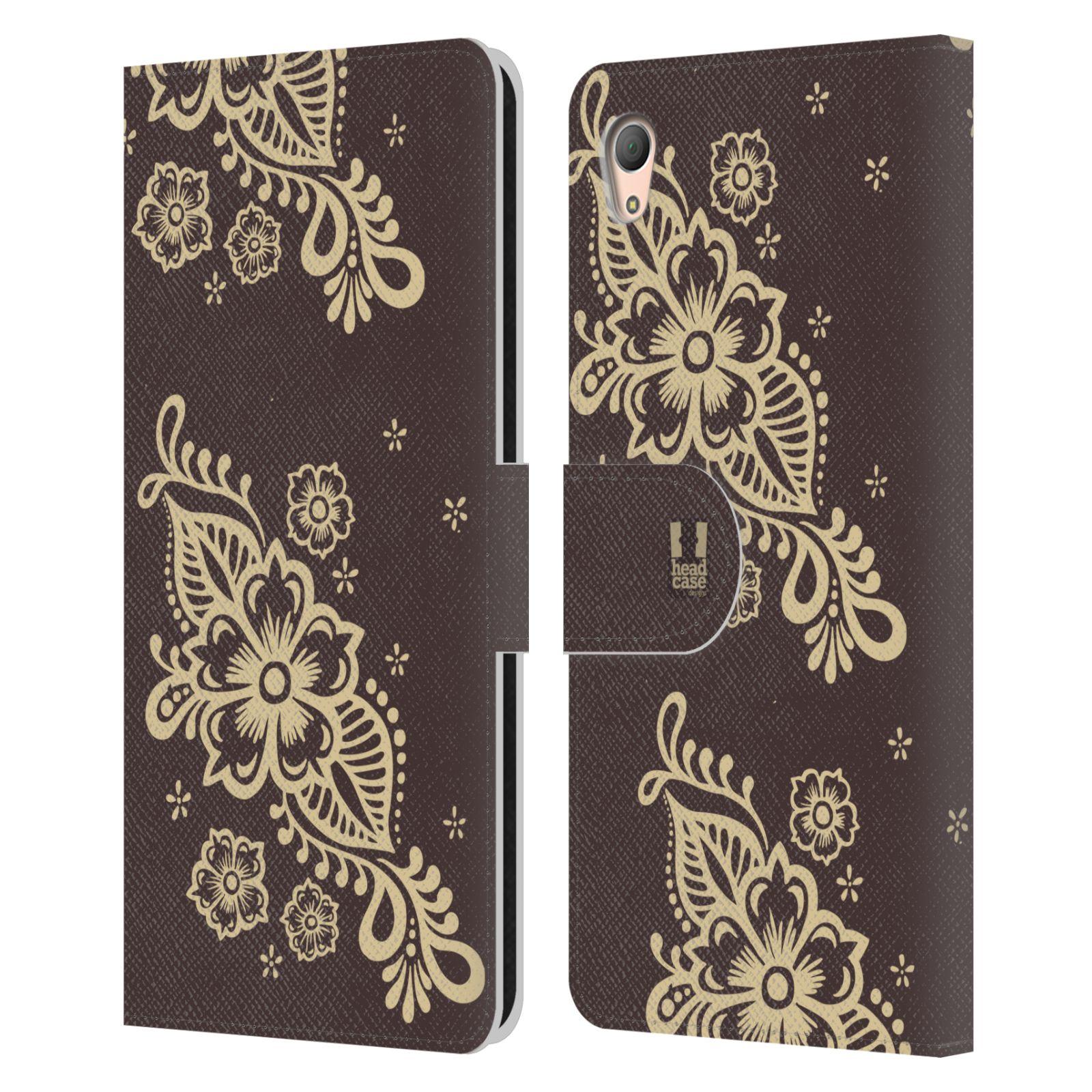 HEAD CASE Flipové pouzdro pro mobil SONY XPERIA Z3+ (PLUS) Hena kresba víno