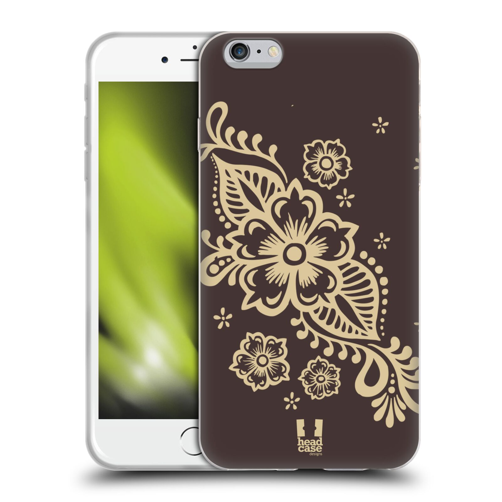 HEAD CASE silikonový obal na mobil Apple Iphone 6 PLUS/ 6S PLUS vzor Hena tetování VÍNO