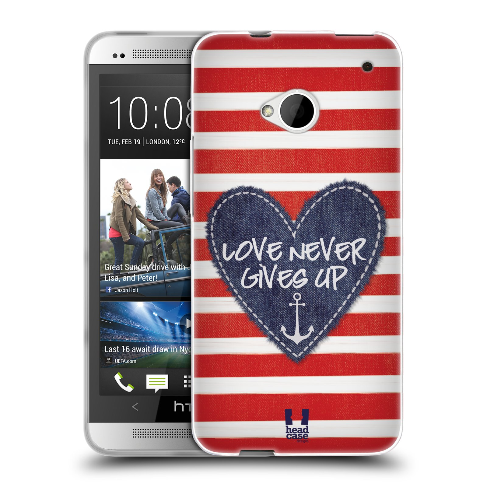HEAD CASE HEART PATCHES SILICONE GEL CASE FOR HTC ONE