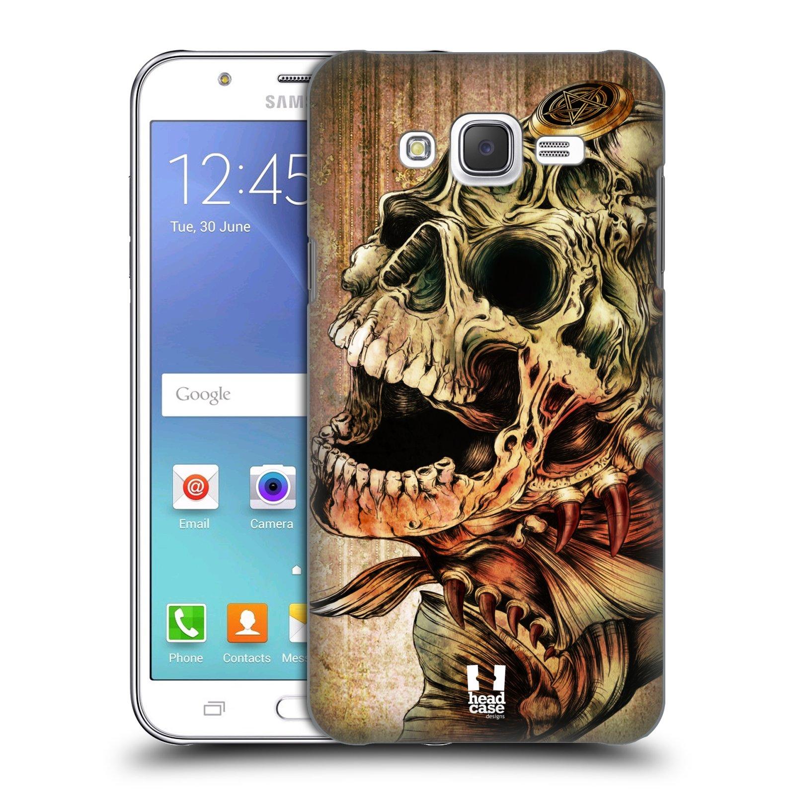HEAD CASE plastový obal na mobil SAMSUNG Galaxy J5, J500 vzor Kreslené lebky METAL Piraňa