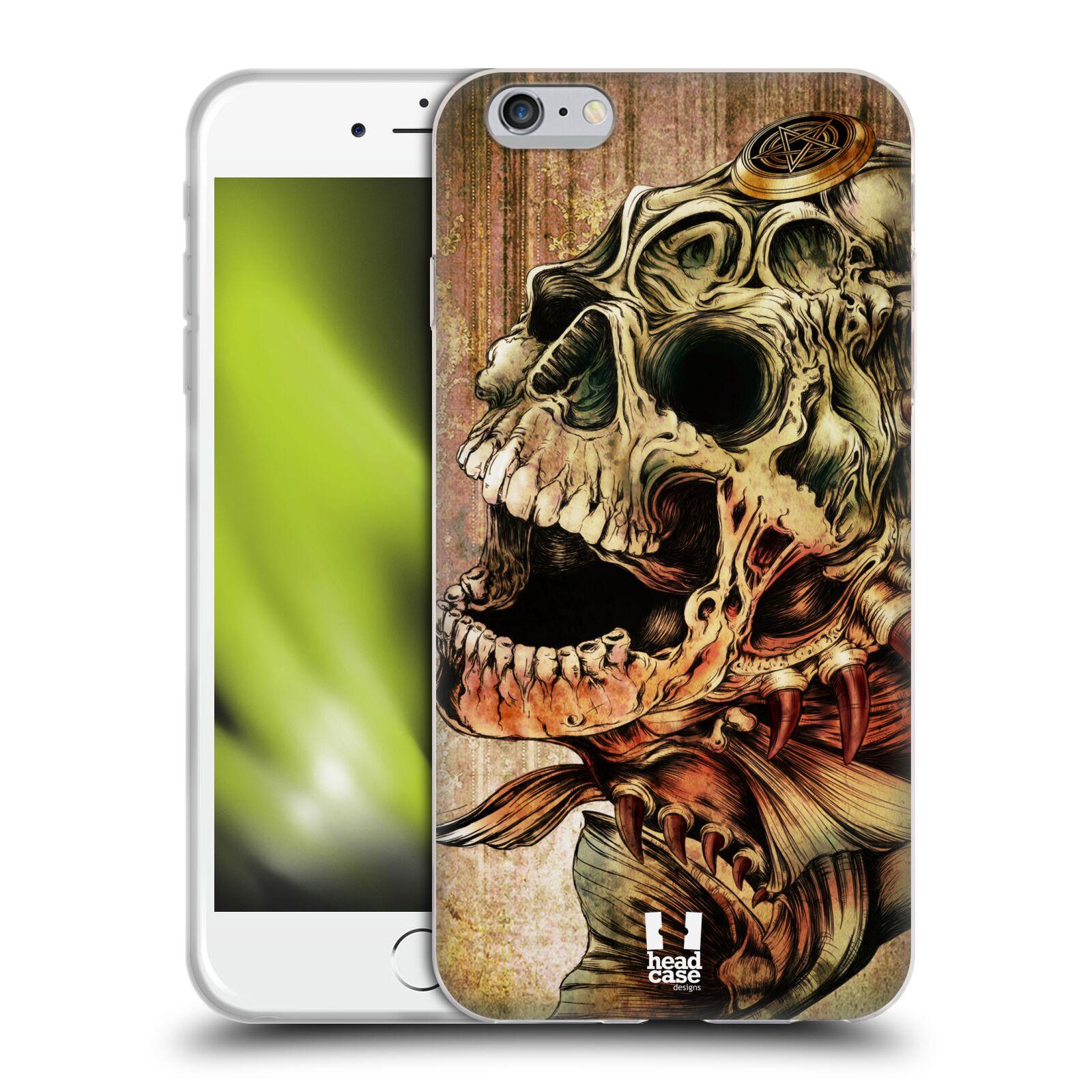 HEAD CASE silikonový obal na mobil Apple Iphone 6 PLUS/ 6S PLUS vzor Kreslené lebky METAL Piraňa