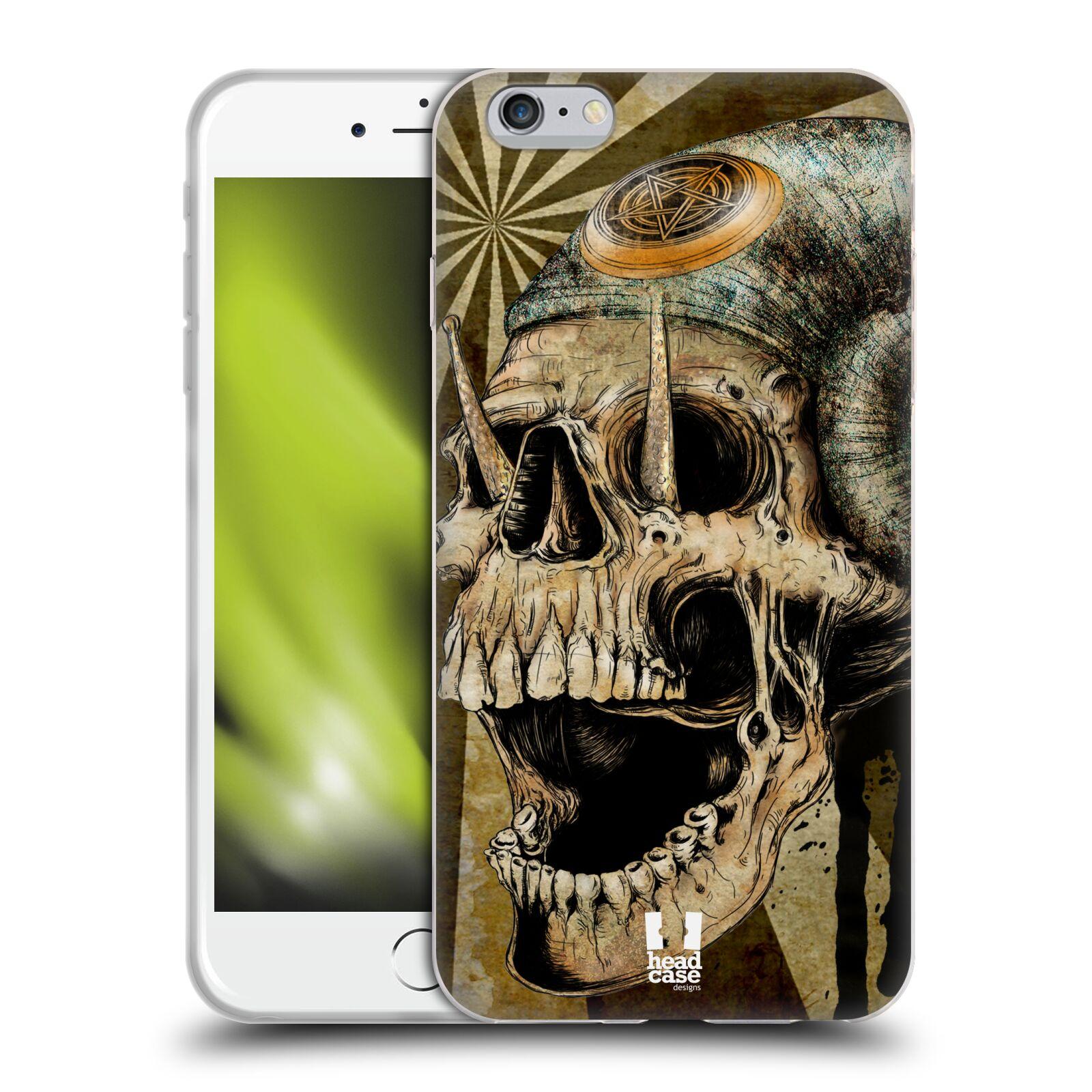 HEAD CASE silikonový obal na mobil Apple Iphone 6 PLUS/ 6S PLUS vzor Kreslené lebky METAL rohy