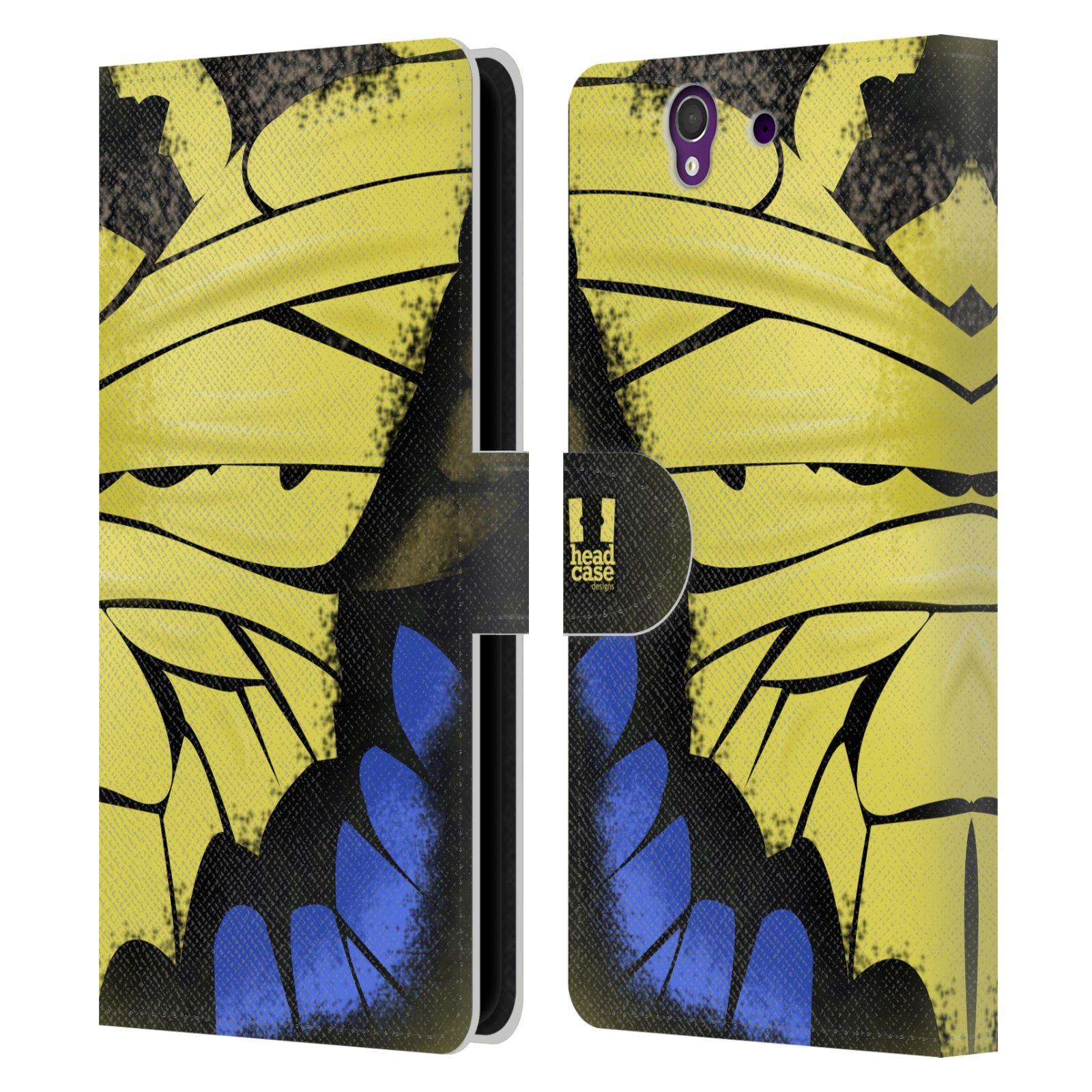 HEAD CASE Flipové pouzdro pro mobil SONY XPERIA Z (C6603) motýl a křídla kreslený vzor žlutá a modrá