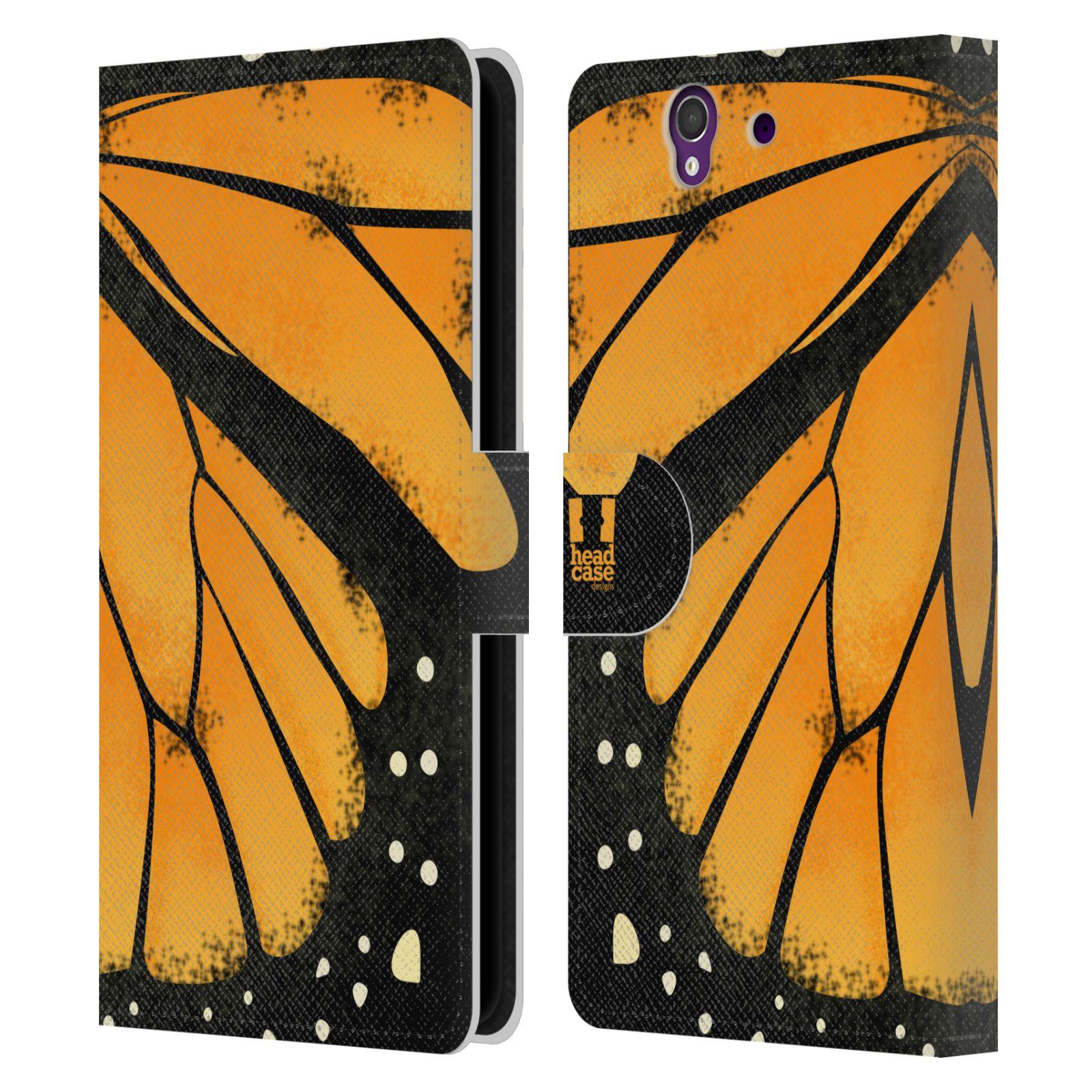 HEAD CASE Flipové pouzdro pro mobil SONY XPERIA Z (C6603) motýl a křídla kreslený vzor MONARCHA žlutá