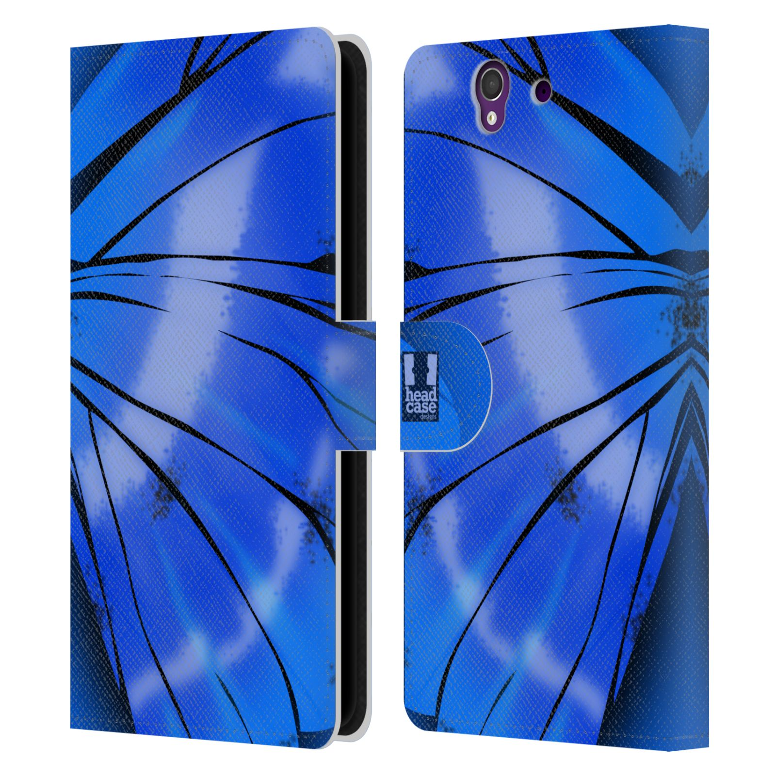 HEAD CASE Flipové pouzdro pro mobil SONY XPERIA Z (C6603) motýl a křídla kreslený vzor modrá zářivá