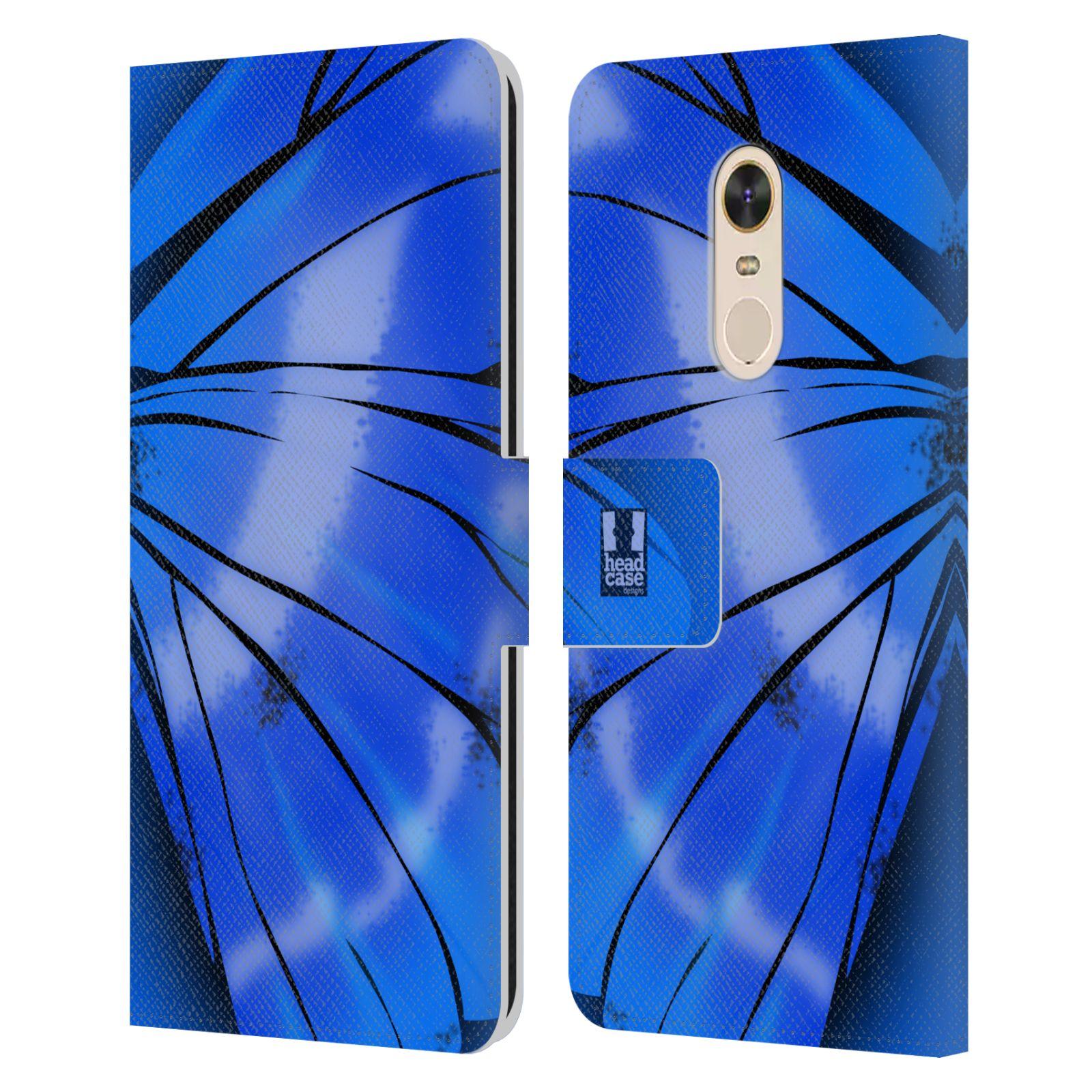 HEAD CASE Flipové pouzdro pro mobil Xiaomi Redmi Note 5 motýl a křídla kreslený vzor modrá zářivá