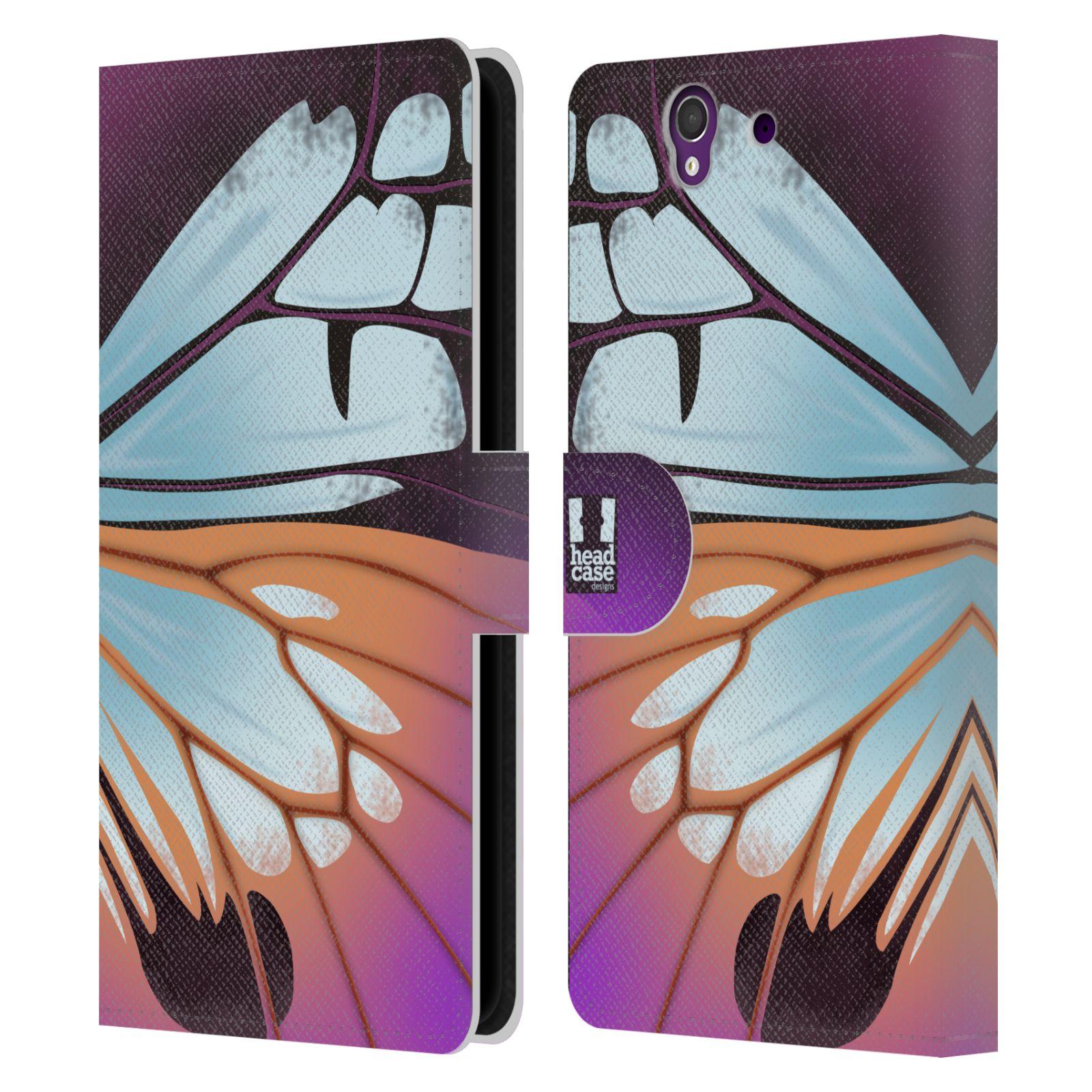 HEAD CASE Flipové pouzdro pro mobil SONY XPERIA Z (C6603) motýl a křídla kreslený vzor fialová a modrá