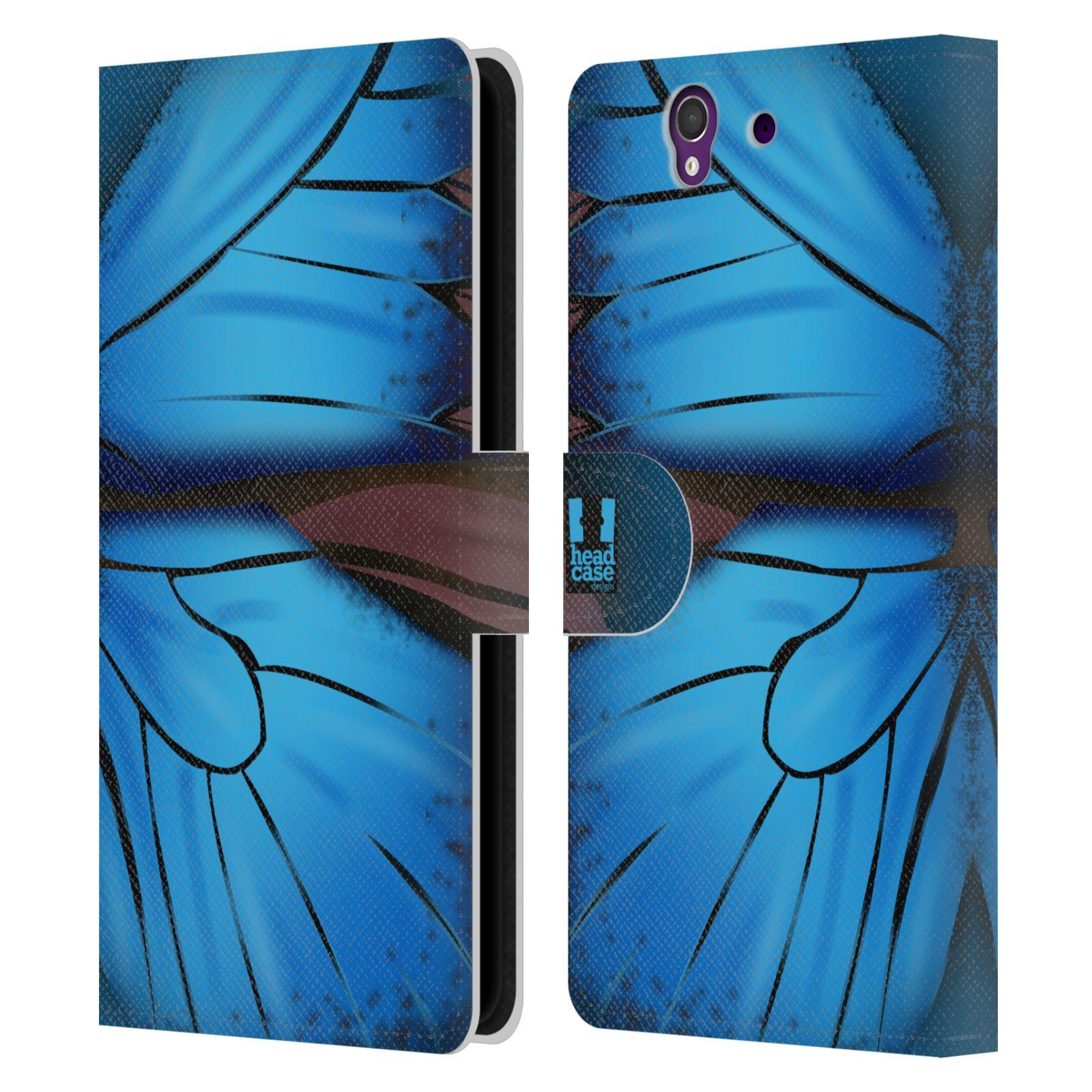 HEAD CASE Flipové pouzdro pro mobil SONY XPERIA Z (C6603) motýl a křídla kreslený vzor modrá barva