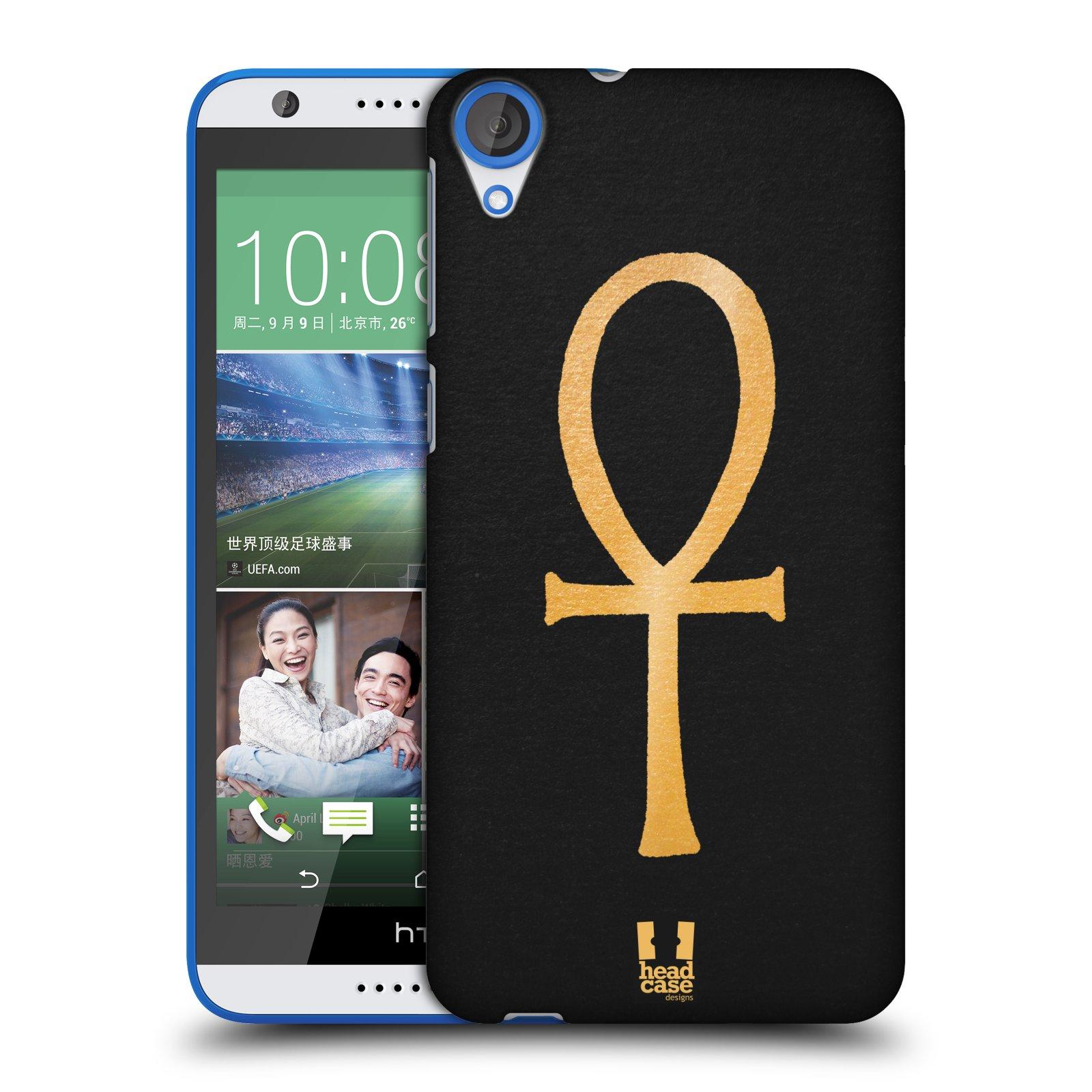 HEAD CASE plastový obal na mobil HTC Desire 820 vzor EGYPT zlatá a černá SYMBOL ŽIVOTA